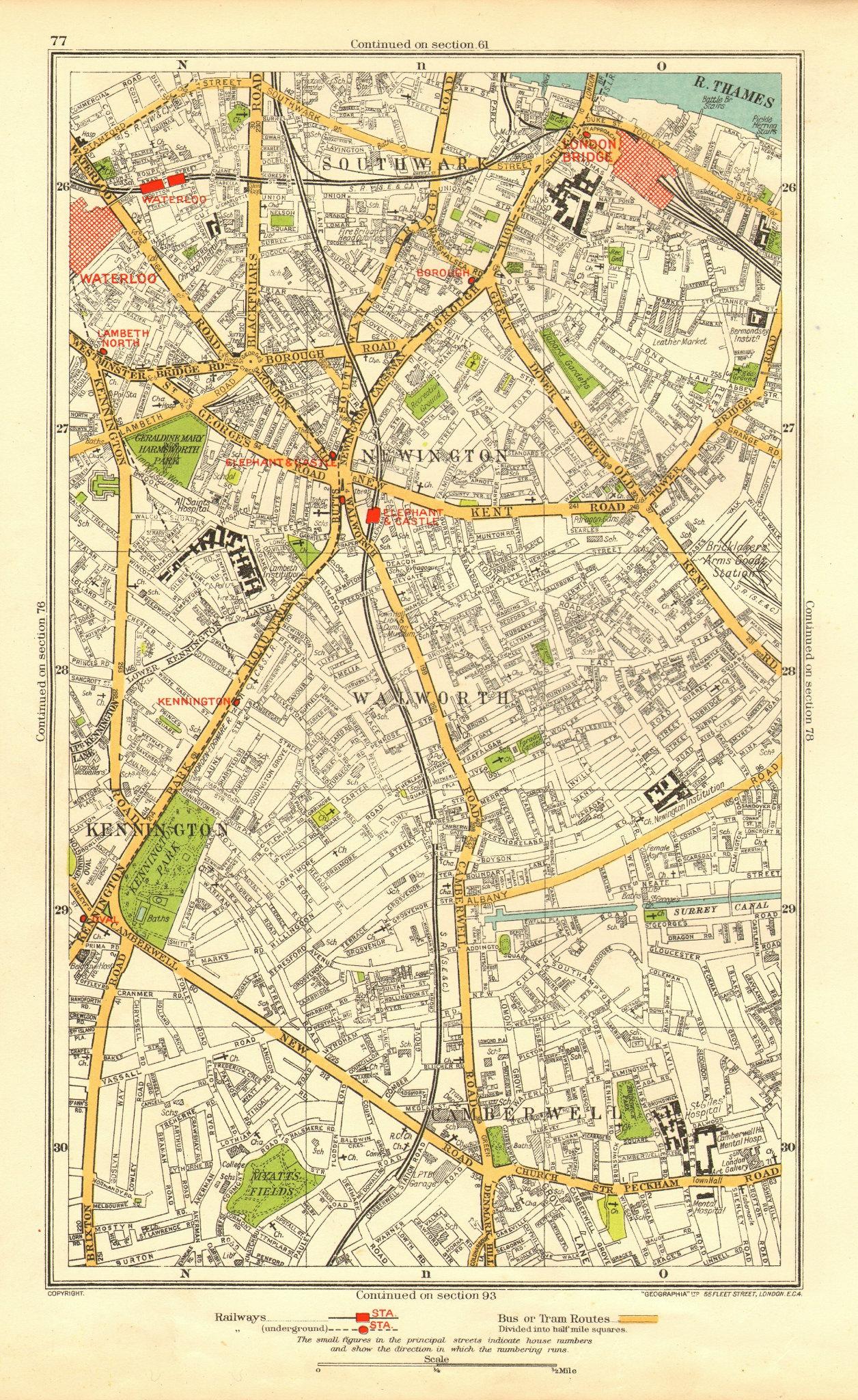 Associate Product SOUTHWARK. Camberwell Bermondsey Lambeth Kennington Newington 1937 old map