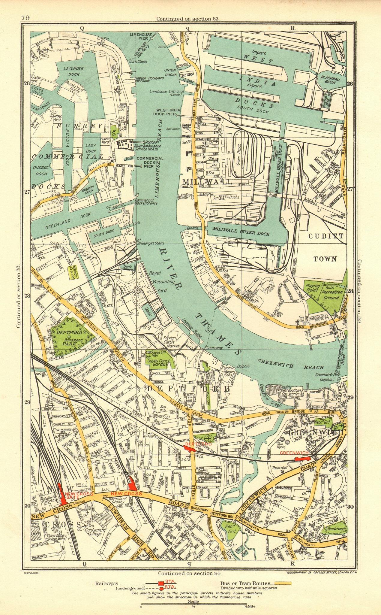 Associate Product DEPTFORD. Greenwich Millwall New Cross Surrey Docks West India Docks 1937 map