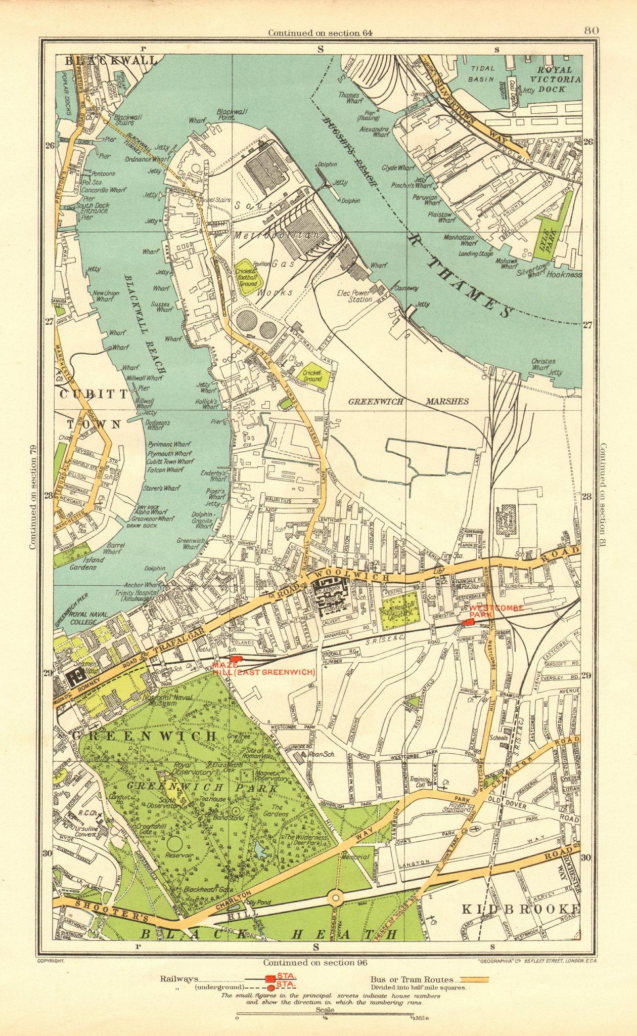 Associate Product GREENWICH. Blackwall Cubitt Town Silvertown Kidbrooke Maze Hill 1937 old map