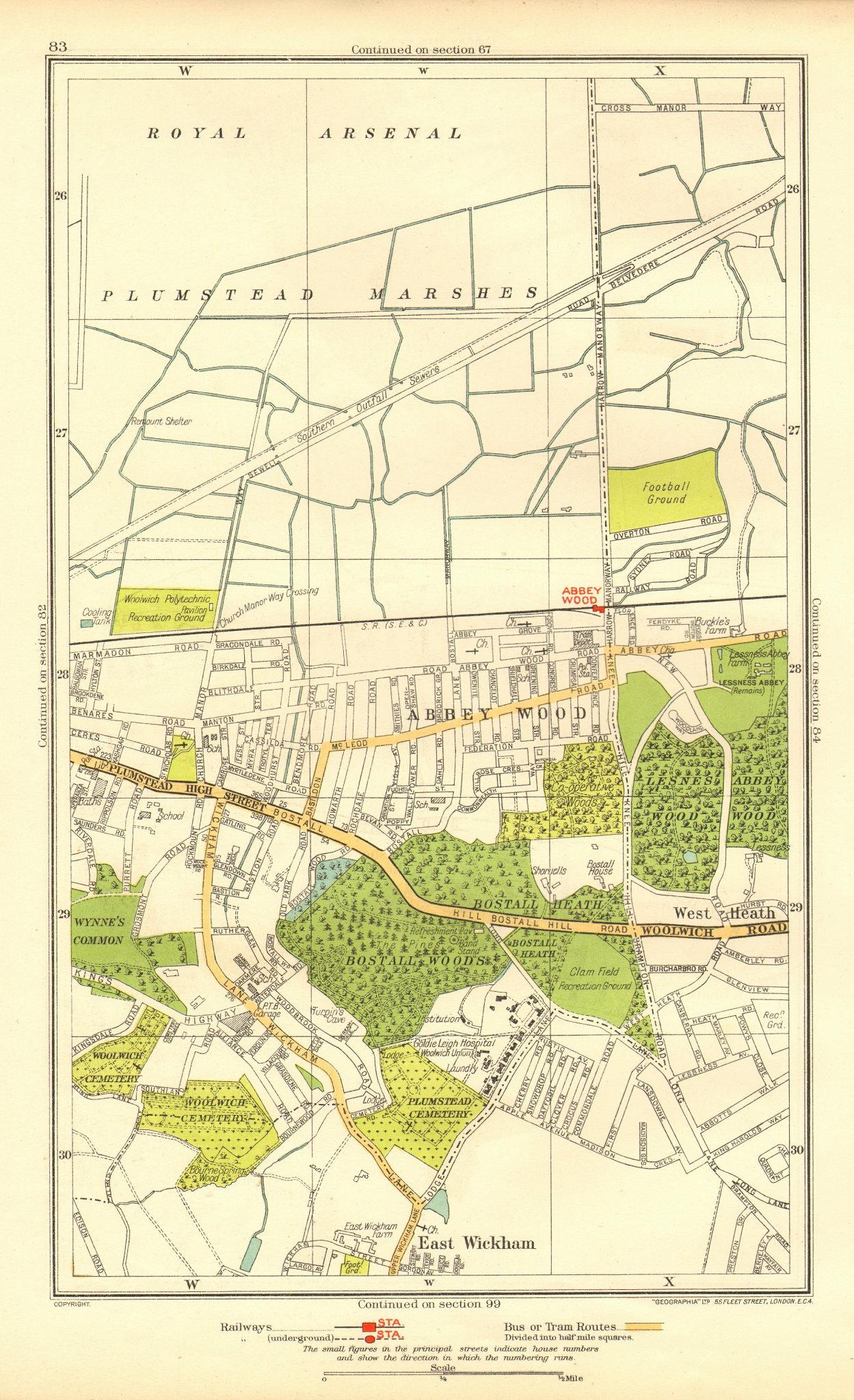 Associate Product WOOLWICH. Abbey Wood Plumstead East Wickham West Heath 1937 old vintage map