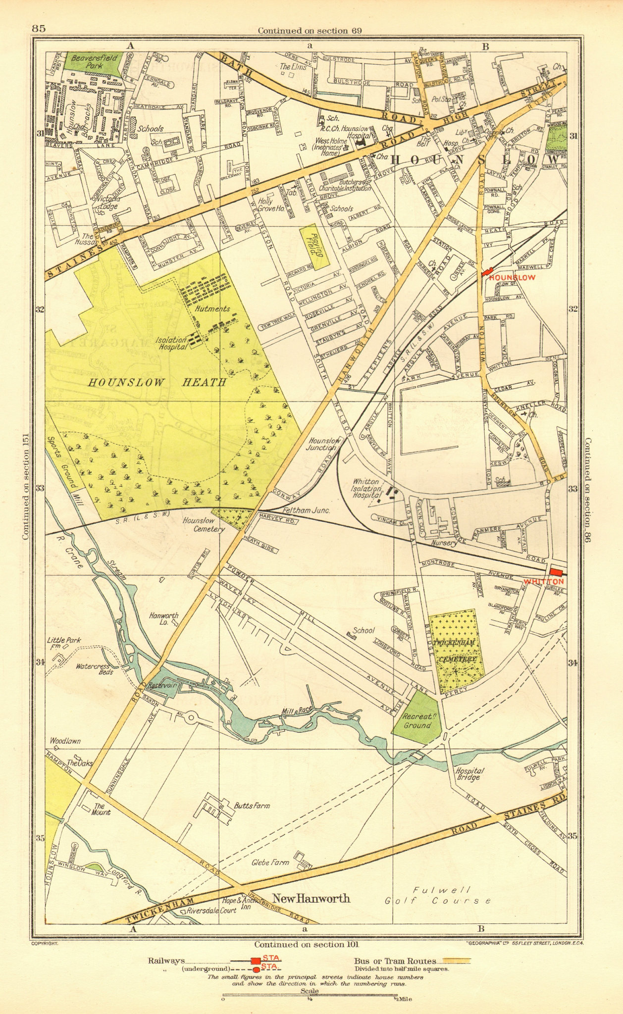 Associate Product LONDON. Hounslow Hounslow Heath Whitton Park New Hanworth 1937 old vintage map