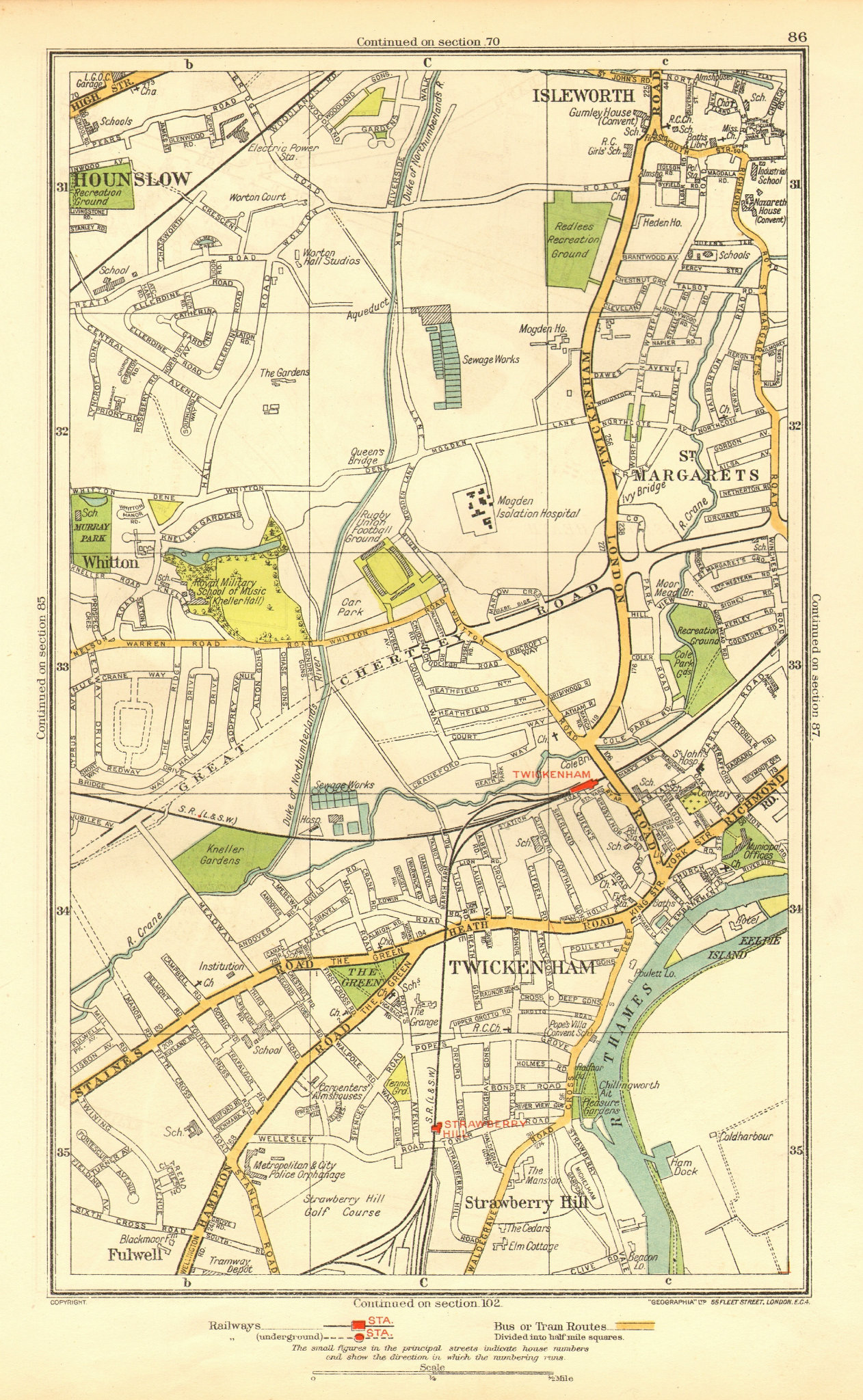 Associate Product TWICKENHAM. Isleworth Hounslow Strawberry Hill Fulwell; Middlesex 1937 old map