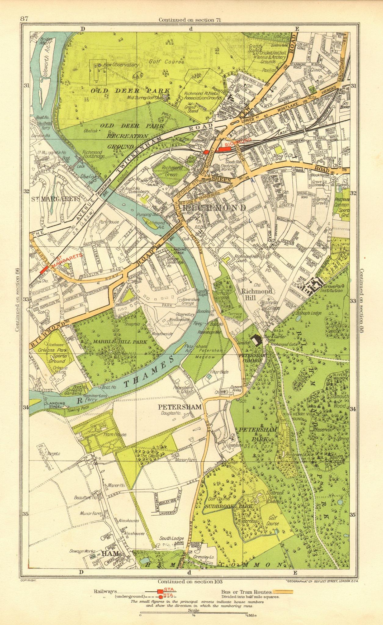 Associate Product LONDON. Ham Petersham Richmond Richmond Hill St Margaret's 1937 old map