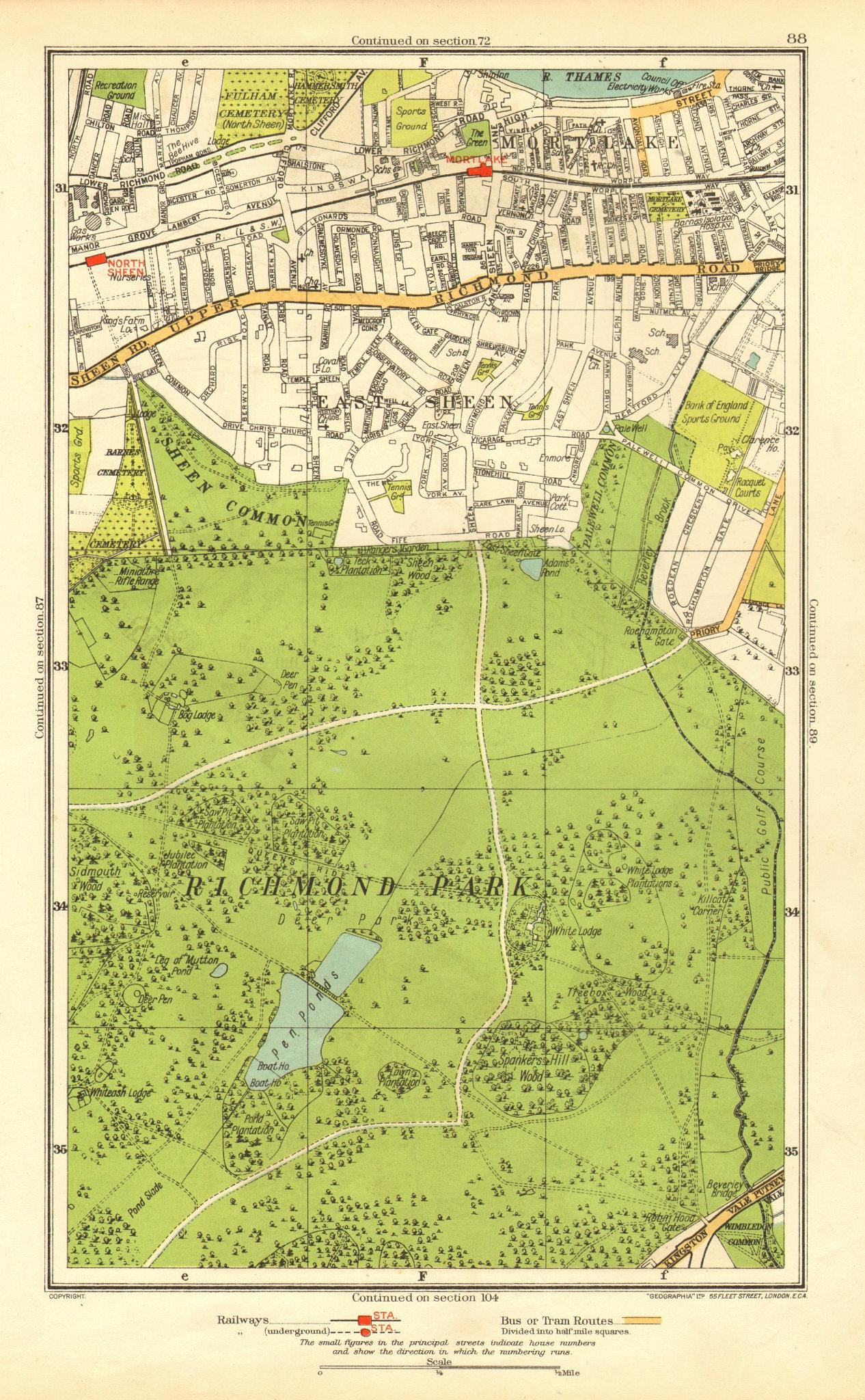 Associate Product LONDON. Richmond Park East Sheen Mortlake North Sheen Roehampton 1937 old map