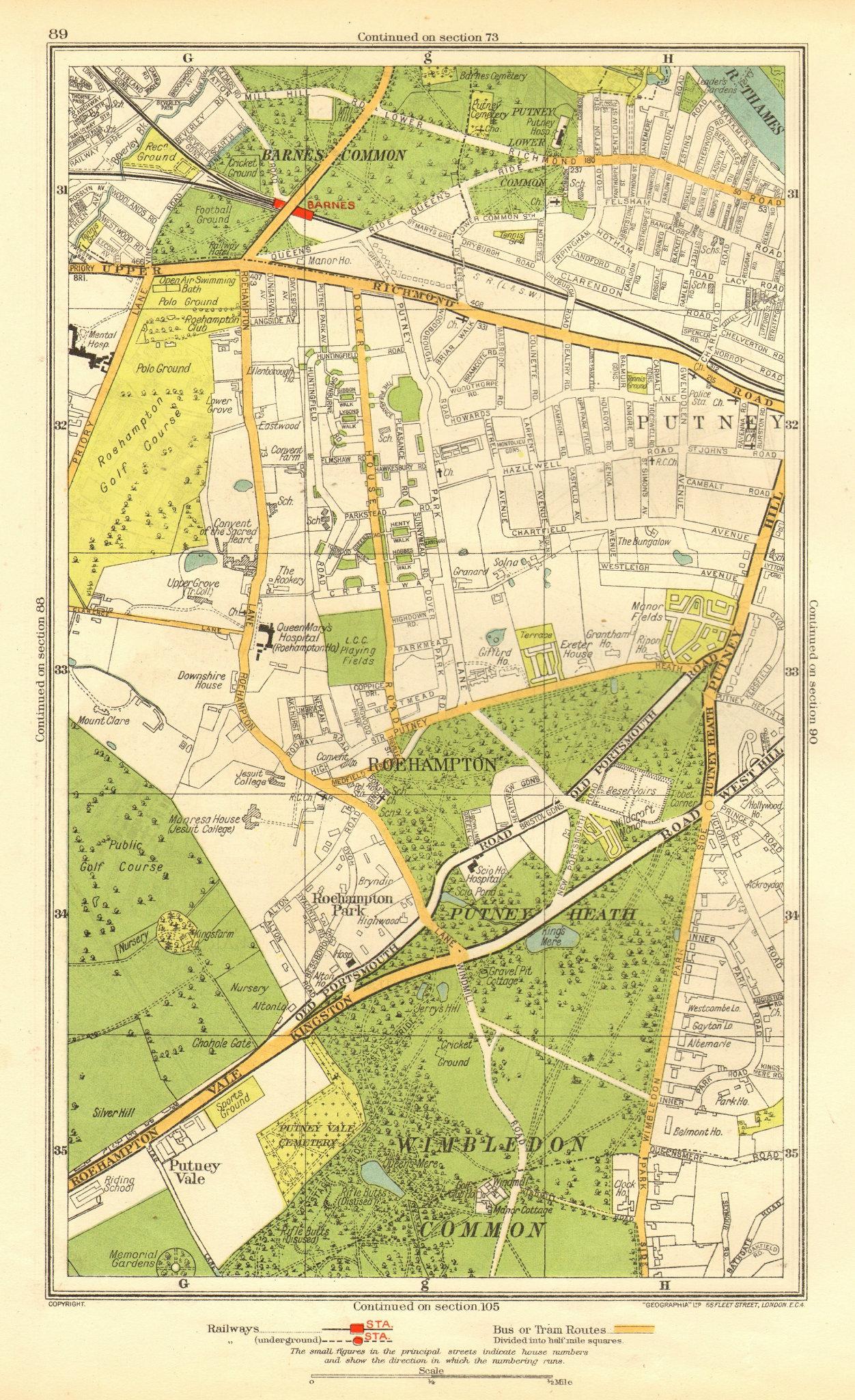 Associate Product LONDON. Putney Vale Roehampton Barnes Roehampton Park Barnes Common 1937 map