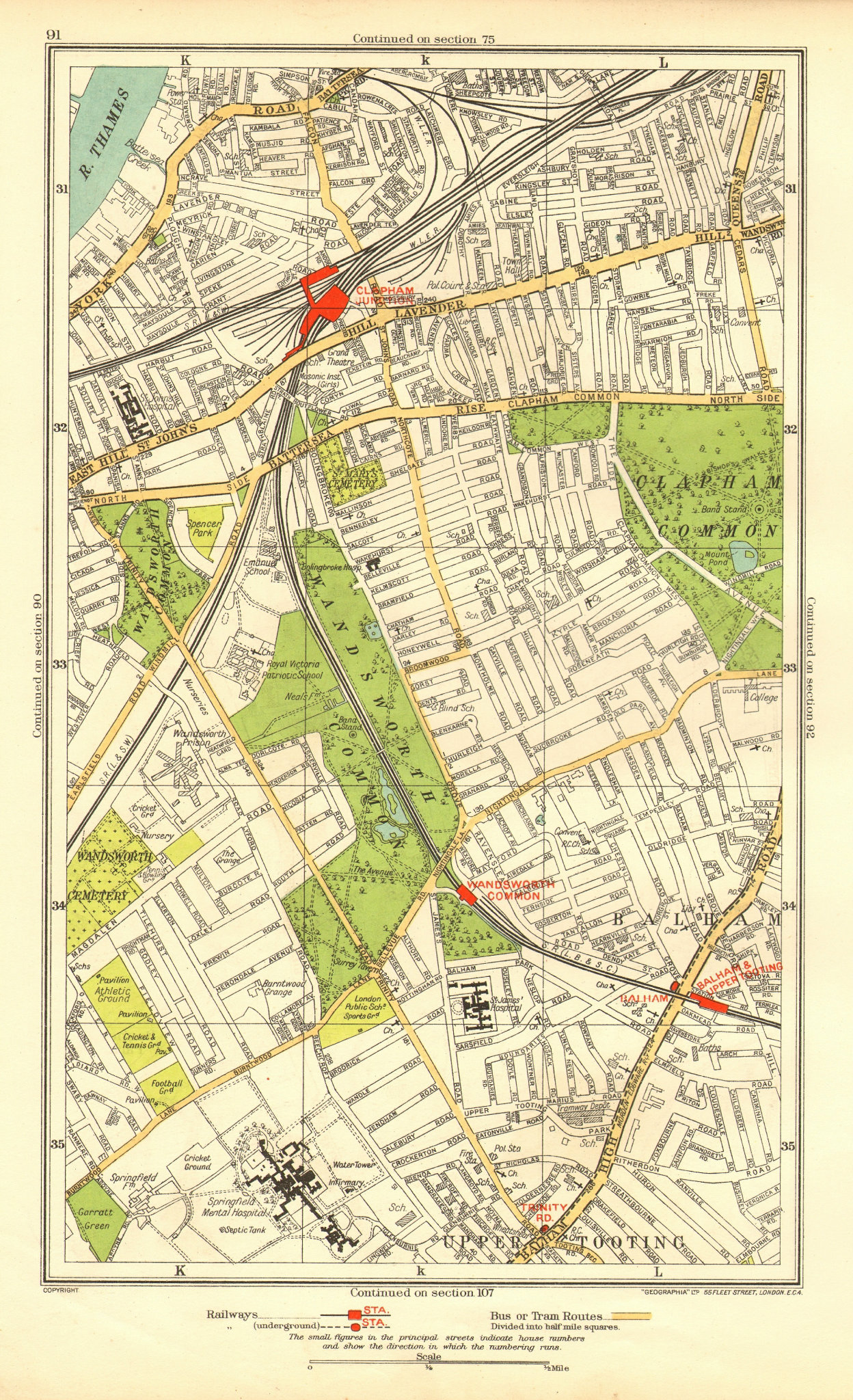 Associate Product CLAPHAM. Wandsworth Balham Upper Tooting Battersea Clapham Junction 1937 map