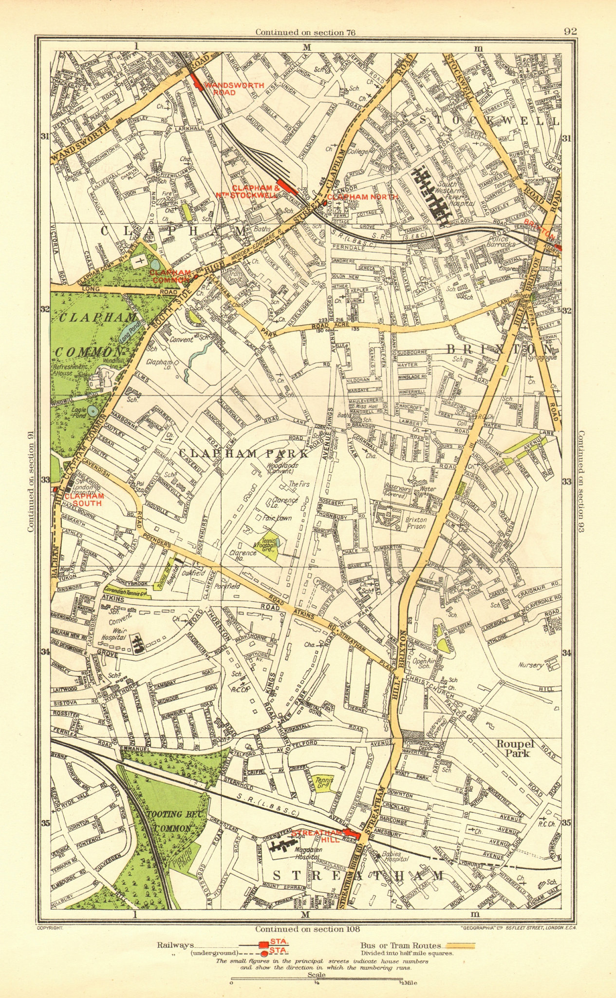 Associate Product LONDON. Brixton Clapham Clapham Park Stockwell Wandsworth Road 1937 old map