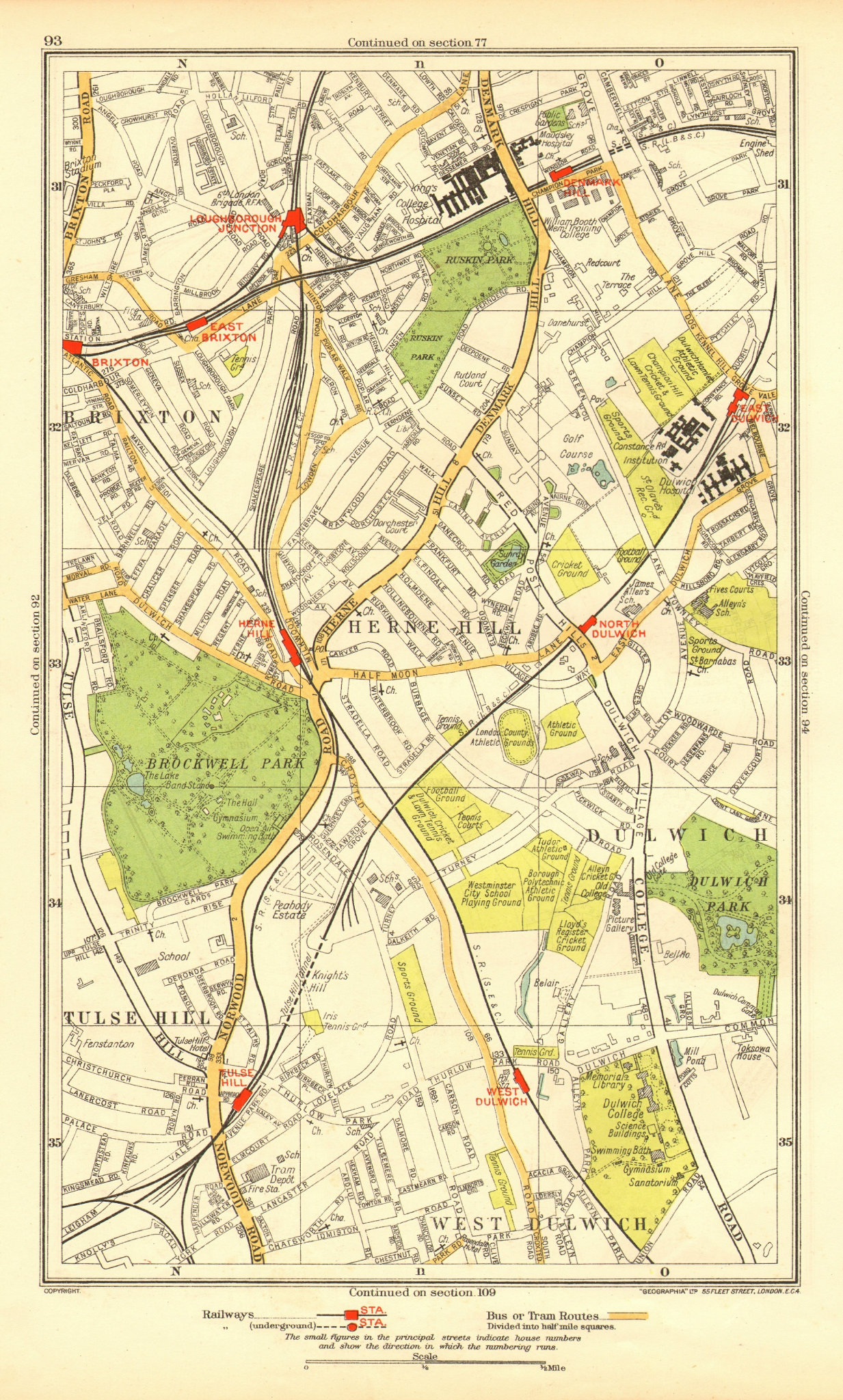 Associate Product LONDON. Dulwich Herne Hill Tulse Hill Brixton Stockwell Denmark Hill 1937 map