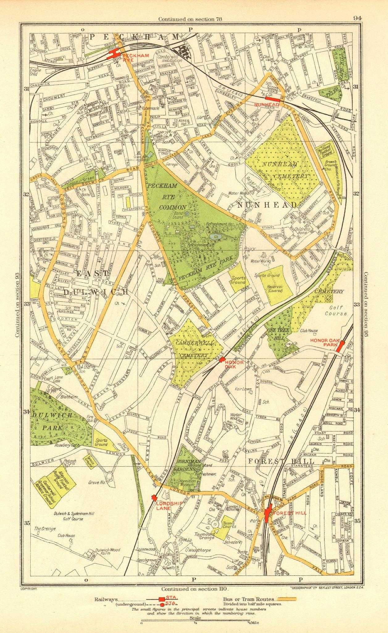 Associate Product LONDON. East Dulwich Forest Hill Nunhead Peckham Rye Honor Oak 1937 old map