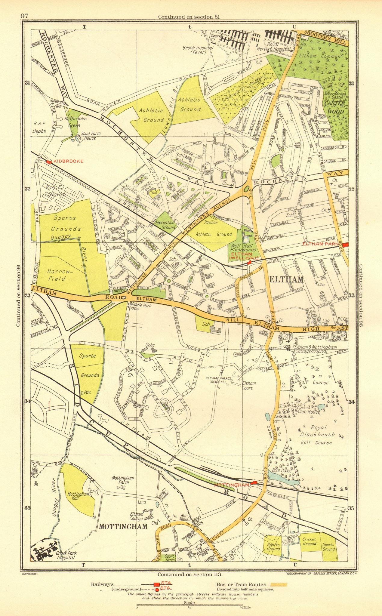 Associate Product ELTHAM. Mottingham Kidbrooke Shooter's Hill Eltham Park Horn Park 1937 old map