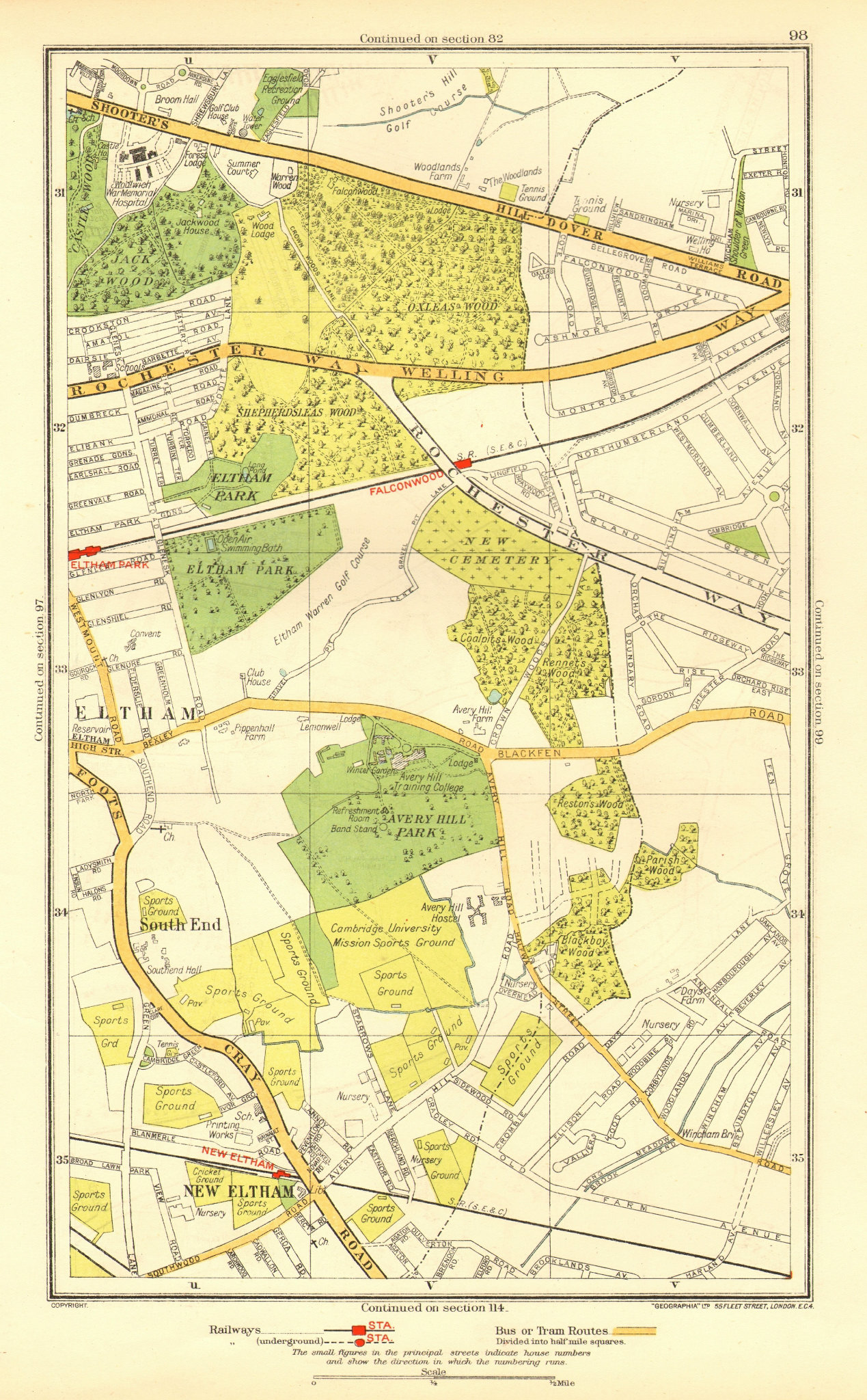 Associate Product LONDON. New Eltham Shooter's Hill South End Eltham Park Pope Street 1937 map