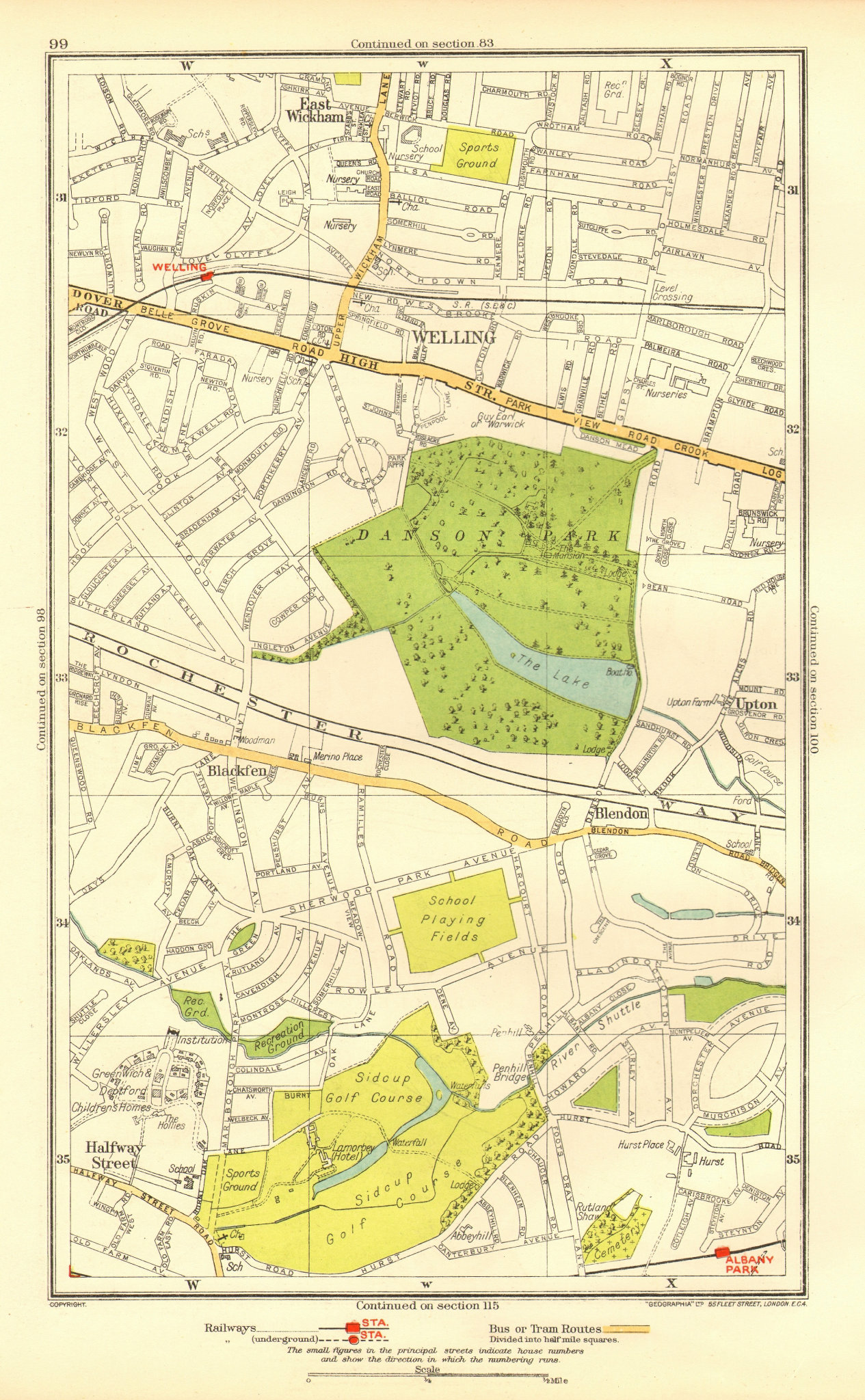 Associate Product BEXLEY. Welling Blackfen Blendon East Wickham Upton Halfway Street 1937 map