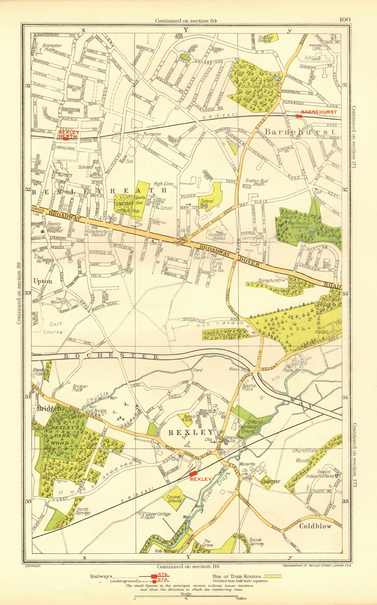 Associate Product LONDON. Bexley Bexleyheath Bridgen Coldblow Upton Barnehurst 1937 map
