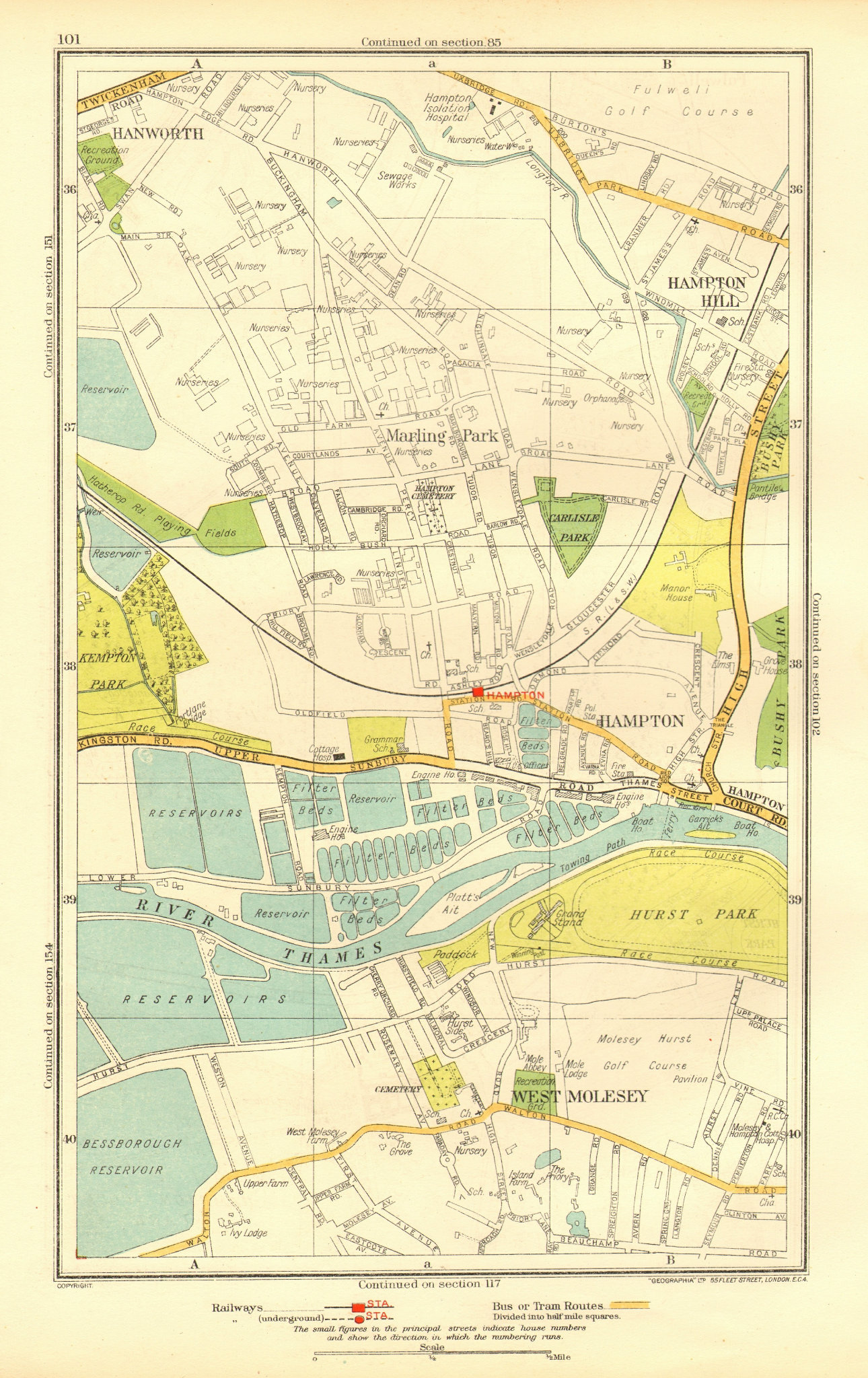 Associate Product HAMPTON. Hampton Hill Marling Park West Molesey Hanworth Hurst Park 1937 map