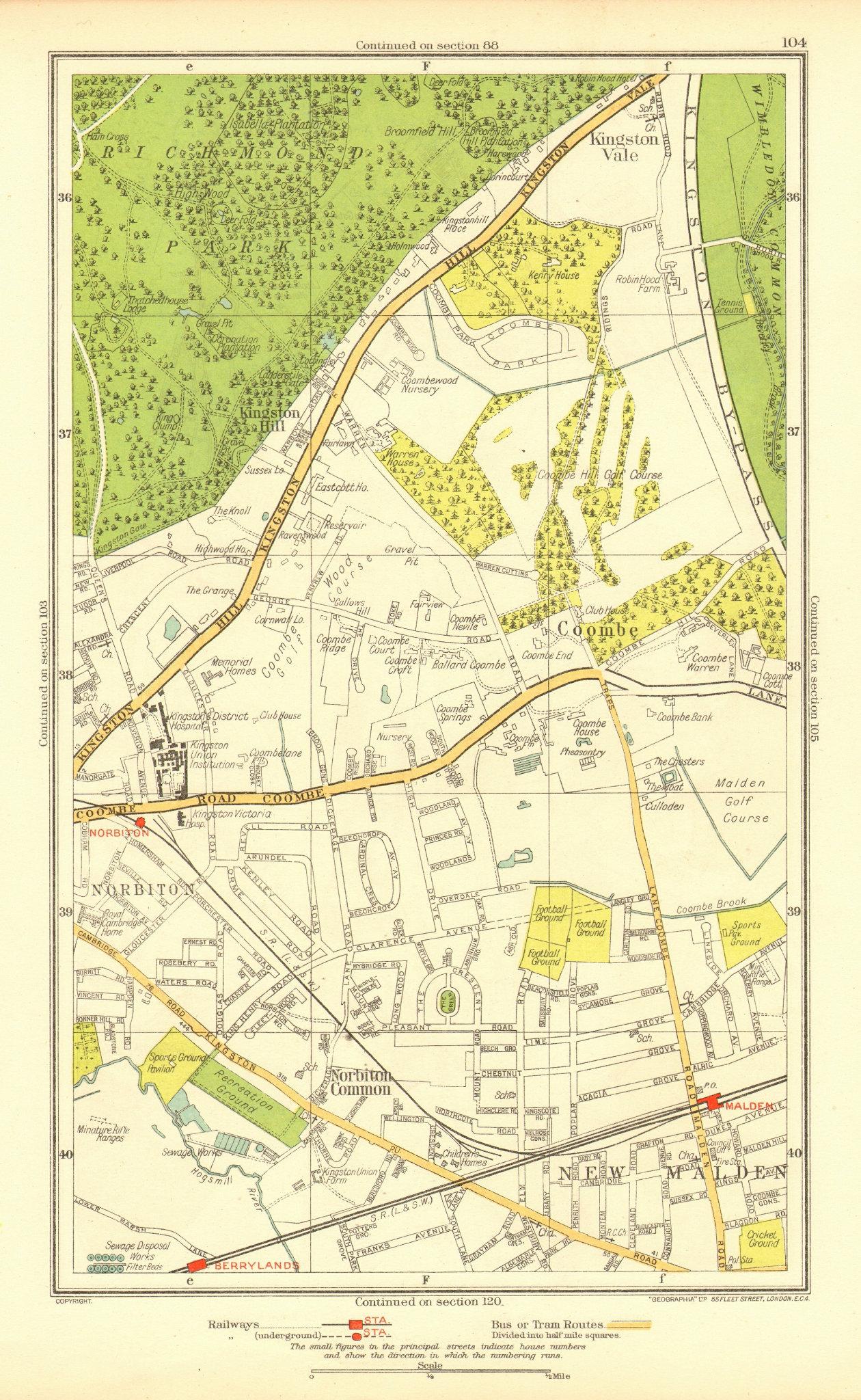 Associate Product NORBITON. Coombe Kingston Hill Kingston Vale New Malden Malden 1937 old map