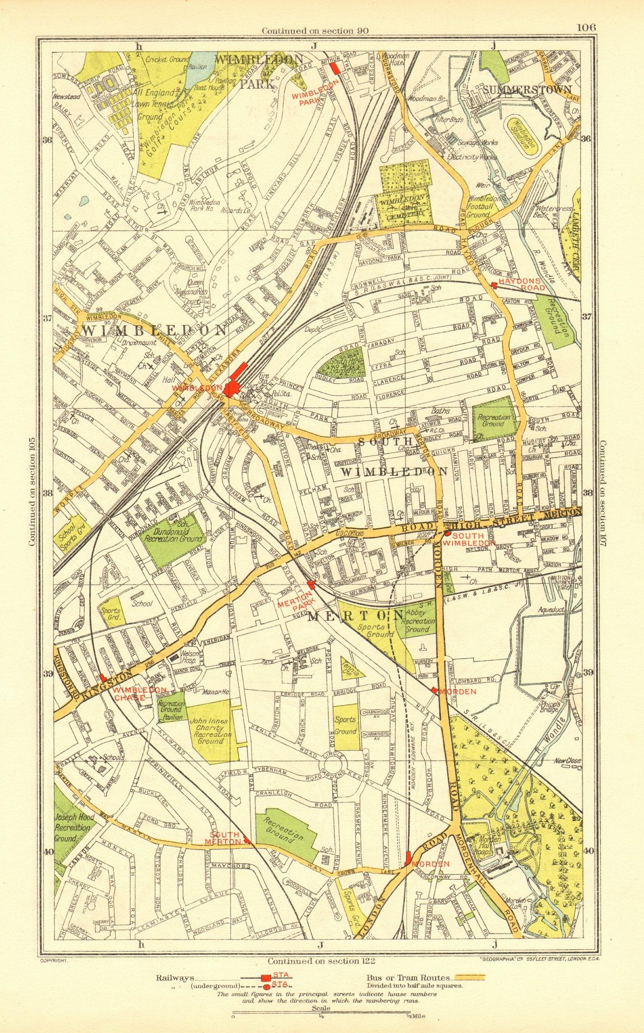 Associate Product LONDON. Merton South Wimbledon Summerstown Haydon's Road Morden 1937 old map