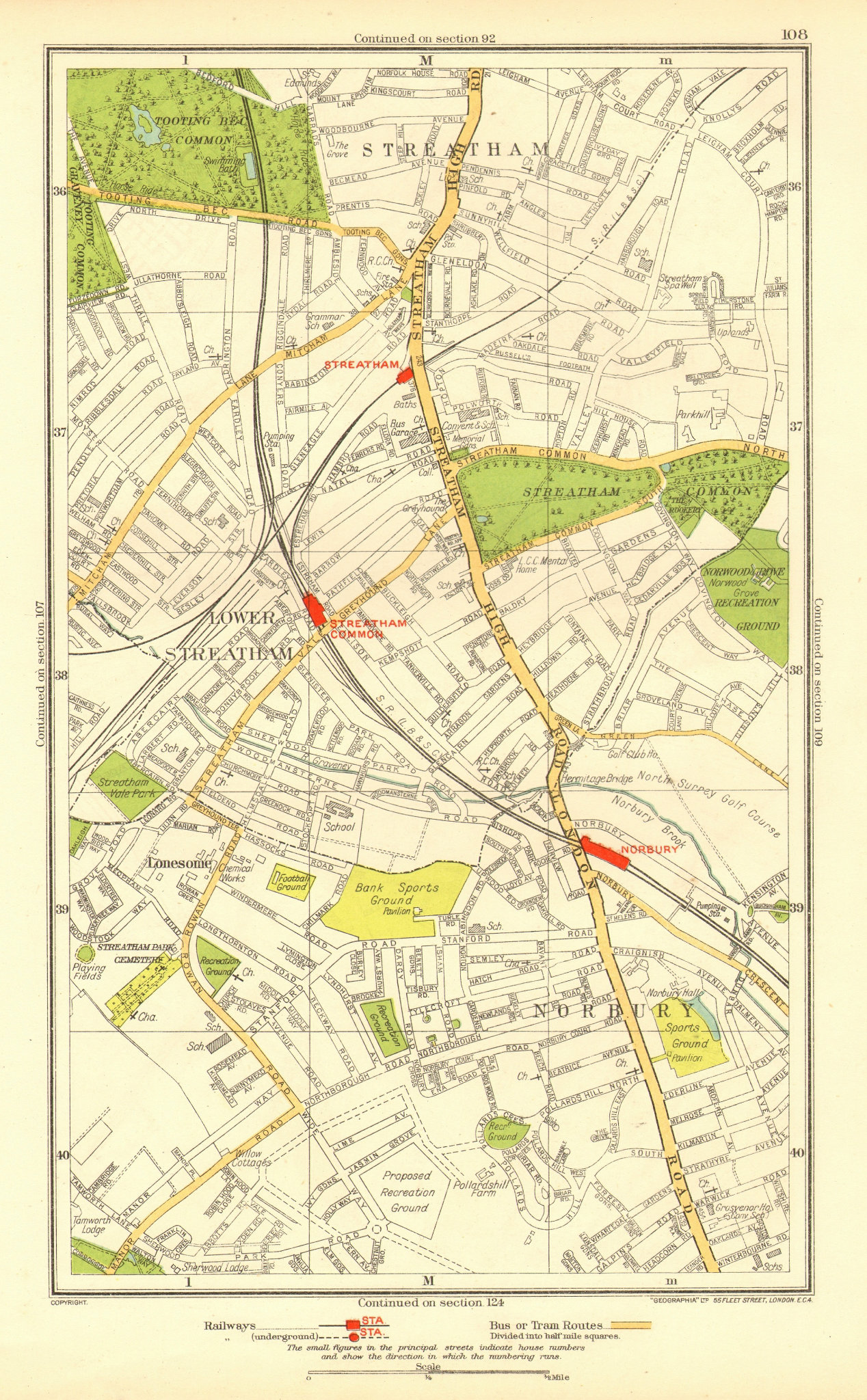 Associate Product LONDON. Lonesome Lower Streatham Norbury Streatham Common Tooting Bec 1937 map