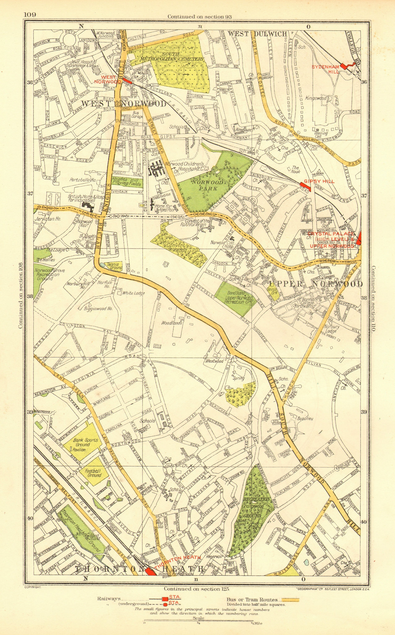 Associate Product LONDON. Upper Norwood West Dulwich  West Norwood Sydenham Hill 1937 old map
