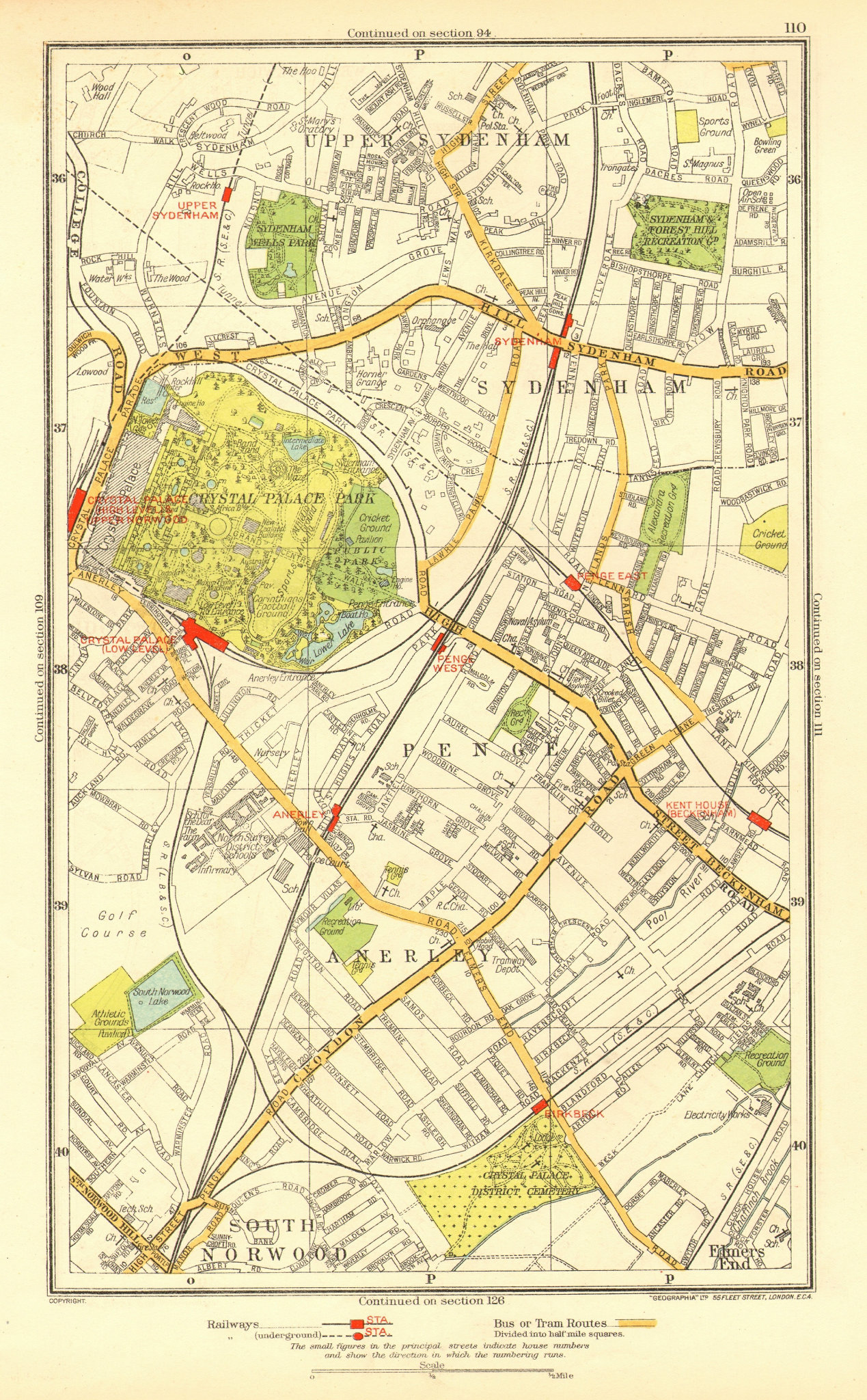 Associate Product SYDENHAM. Anerley Elmers End Penge Crystal Palace Upper Norwood 1937 old map