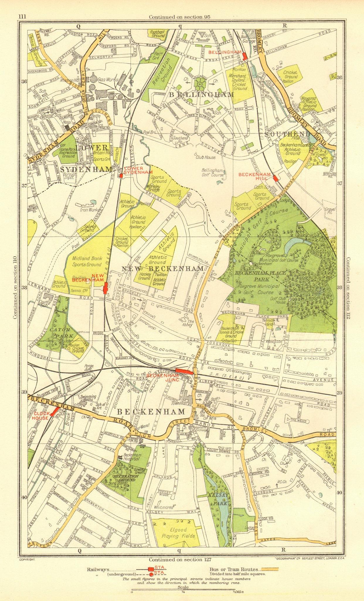 Associate Product BECKENHAM. Bellingham Lower Sydenham Southend Clock House 1937 old vintage map