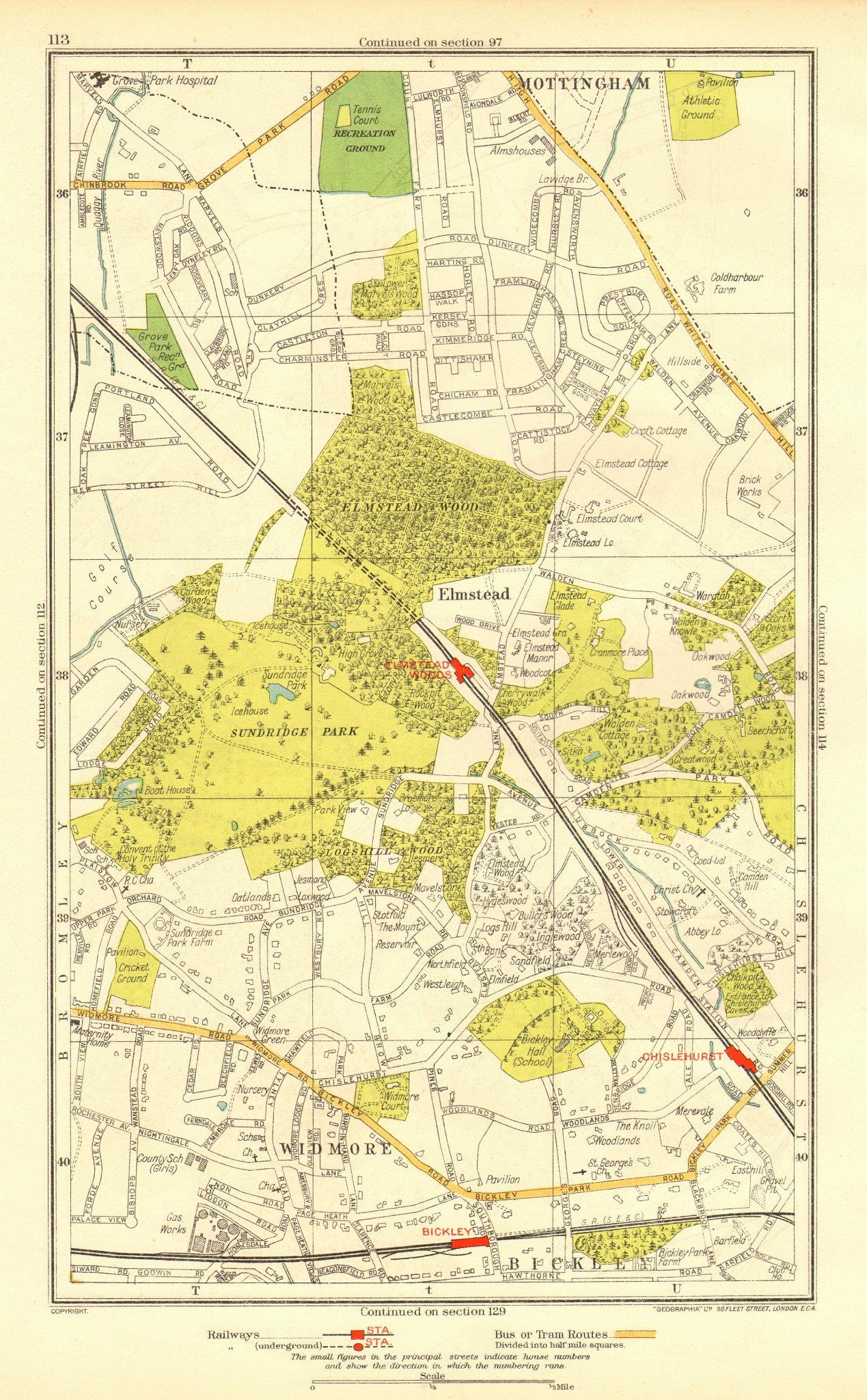 Associate Product LONDON. Bickley Elmstead Widmore Mottingham Chislehurst Chalkpit Wood 1937 map