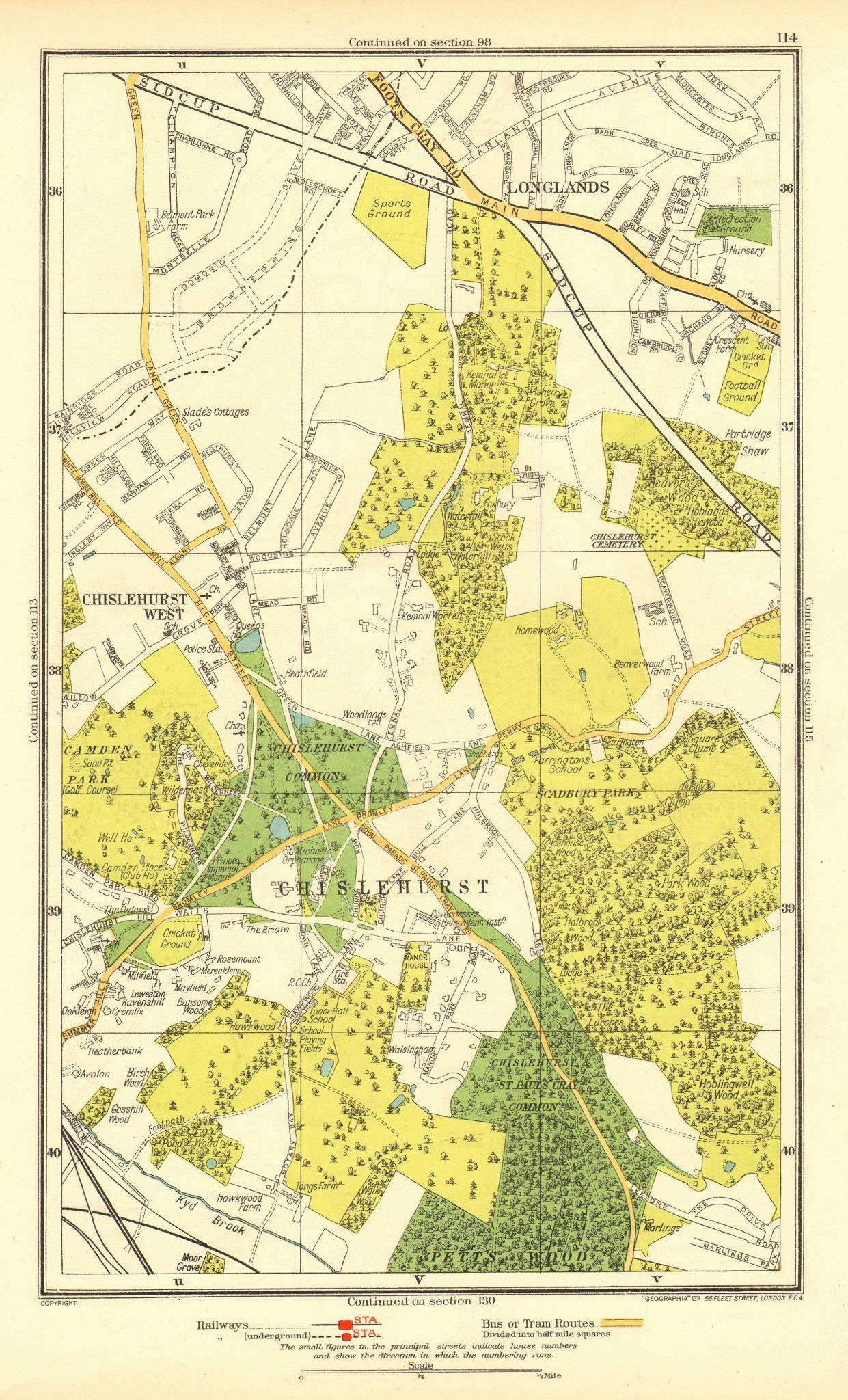 Associate Product CHISLEHURST. Chislehurst West Longlands Pett's Wood Sidcup Park Wood 1937 map