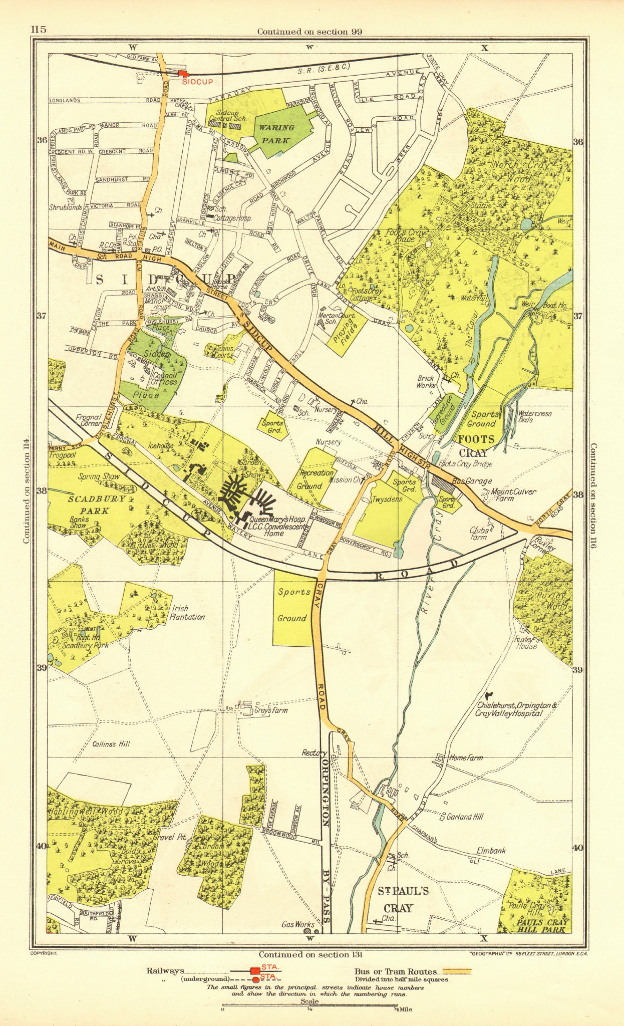 Associate Product SIDCUP. Foots Cray St Paul's Cray Queen's Hospital Frognal(Q Mary's) 1937 map