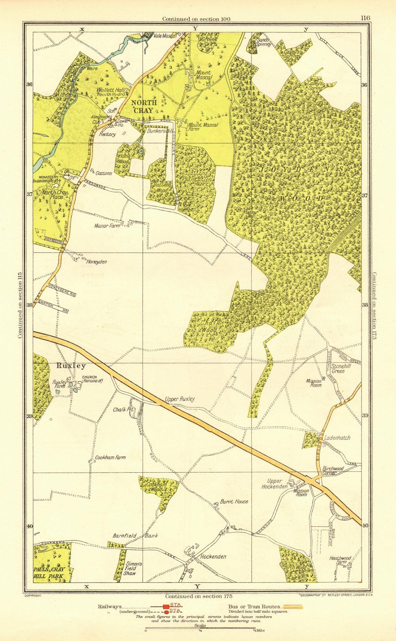 Associate Product JOYDEN'S WOOD. North Cray Foot's Cray Ruxley Swanley 1937 old vintage map