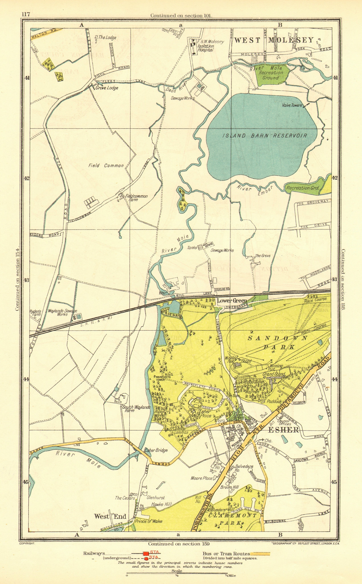 Associate Product SURREY. Esher Lower Green West End Sandown Park West Molesey 1937 old map