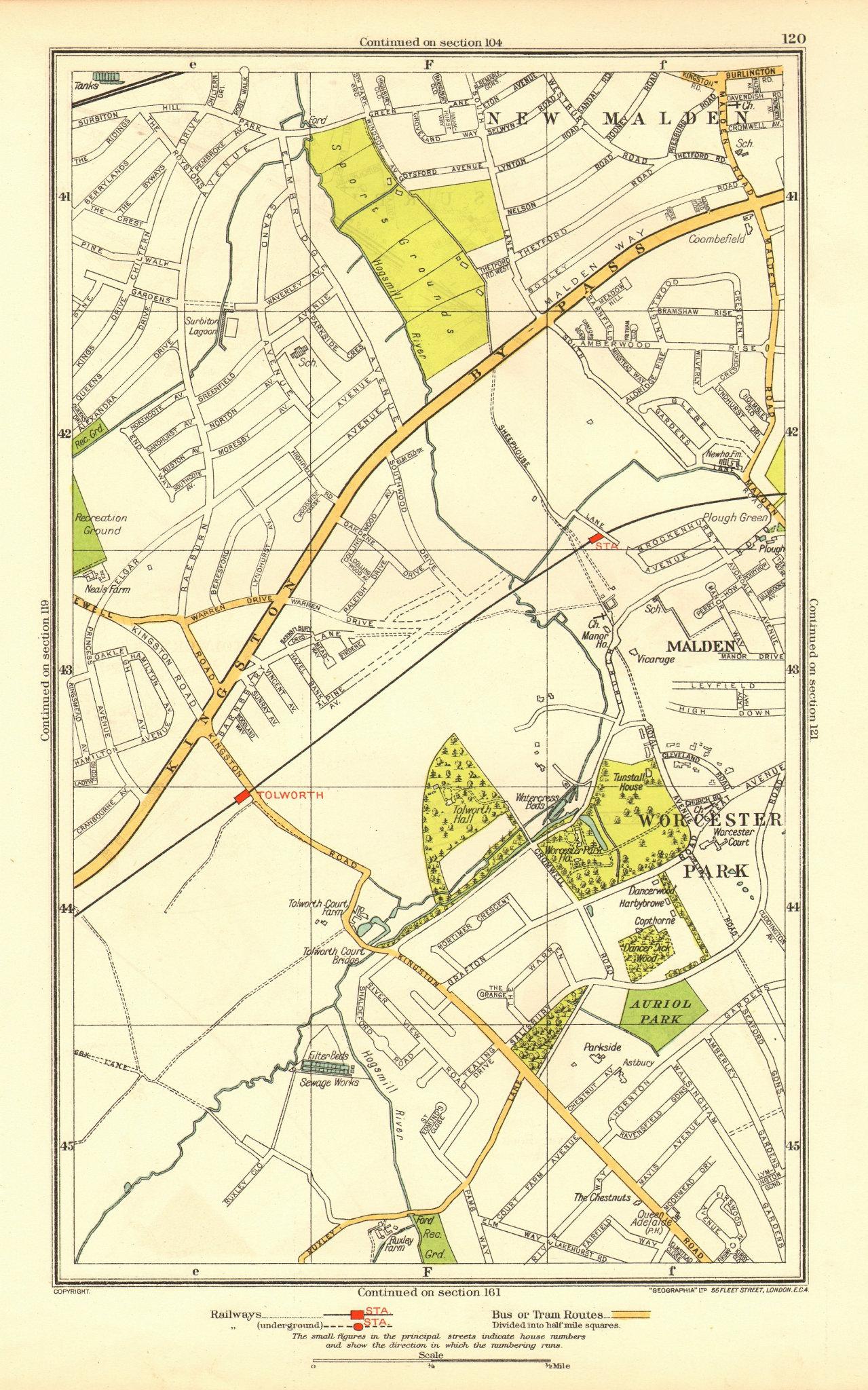 Associate Product NEW MALDEN. Surbiton Worcester Park West Ewell Tolworth Berrylands 1937 map