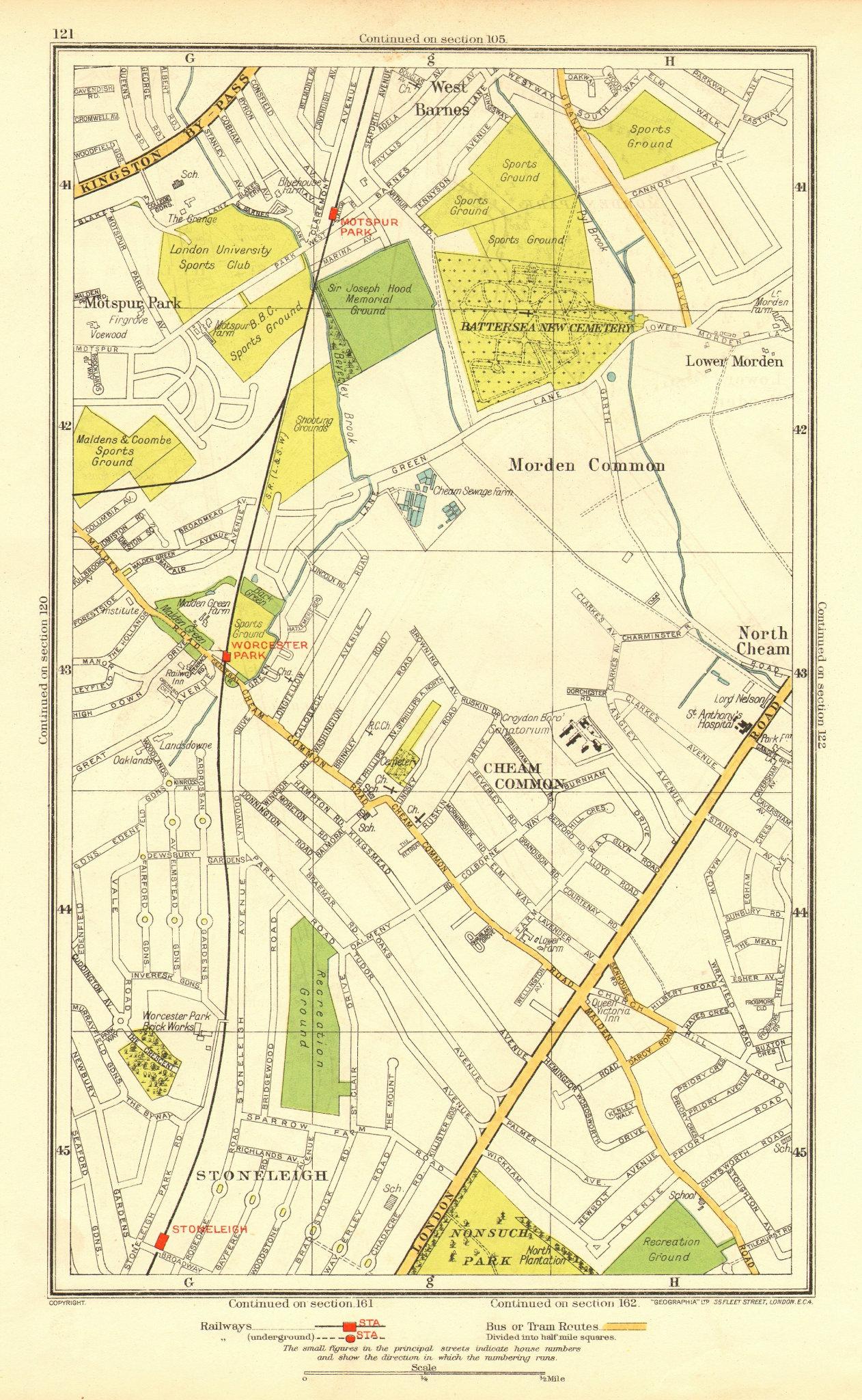 Associate Product CHEAM. Stoneleigh; Worcester Morden Common Motspur Park West Barnes 1937 map