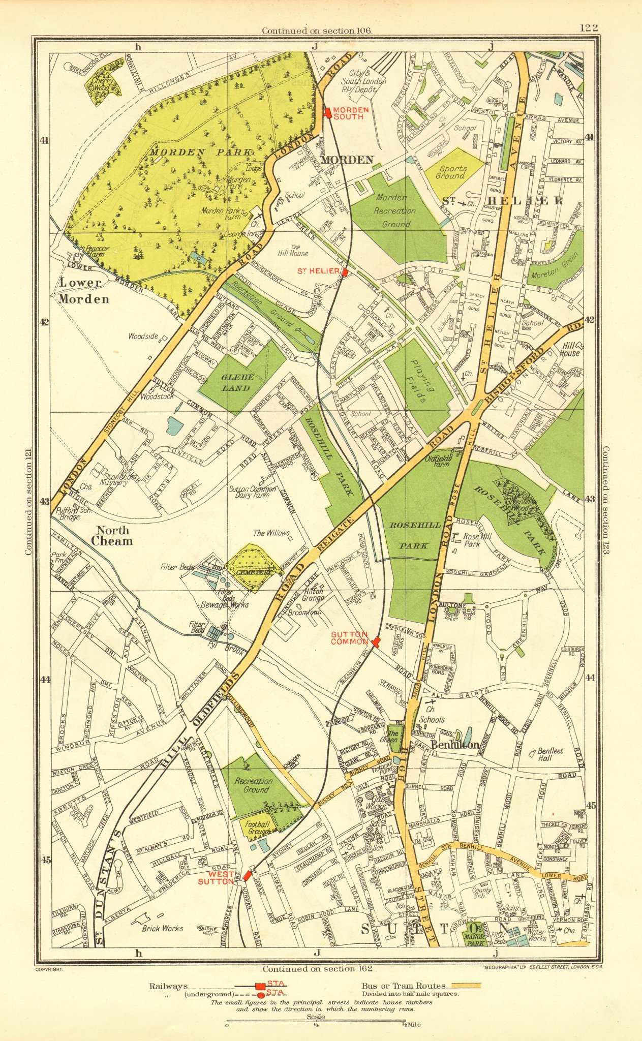 Associate Product SUTTON. Benhilton North/Lower Morden Park Cheam St Helier; Surrey 1937 old map