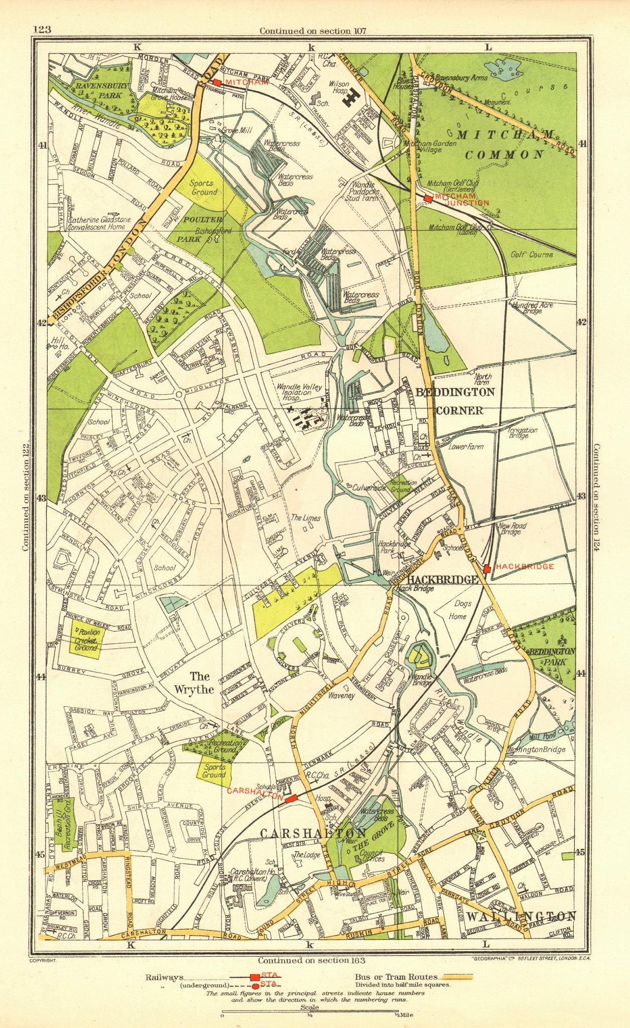 Associate Product CARSHALTON. Wallington Mitcham Junction The Wrythe Sutton Hackbridge 1937 map