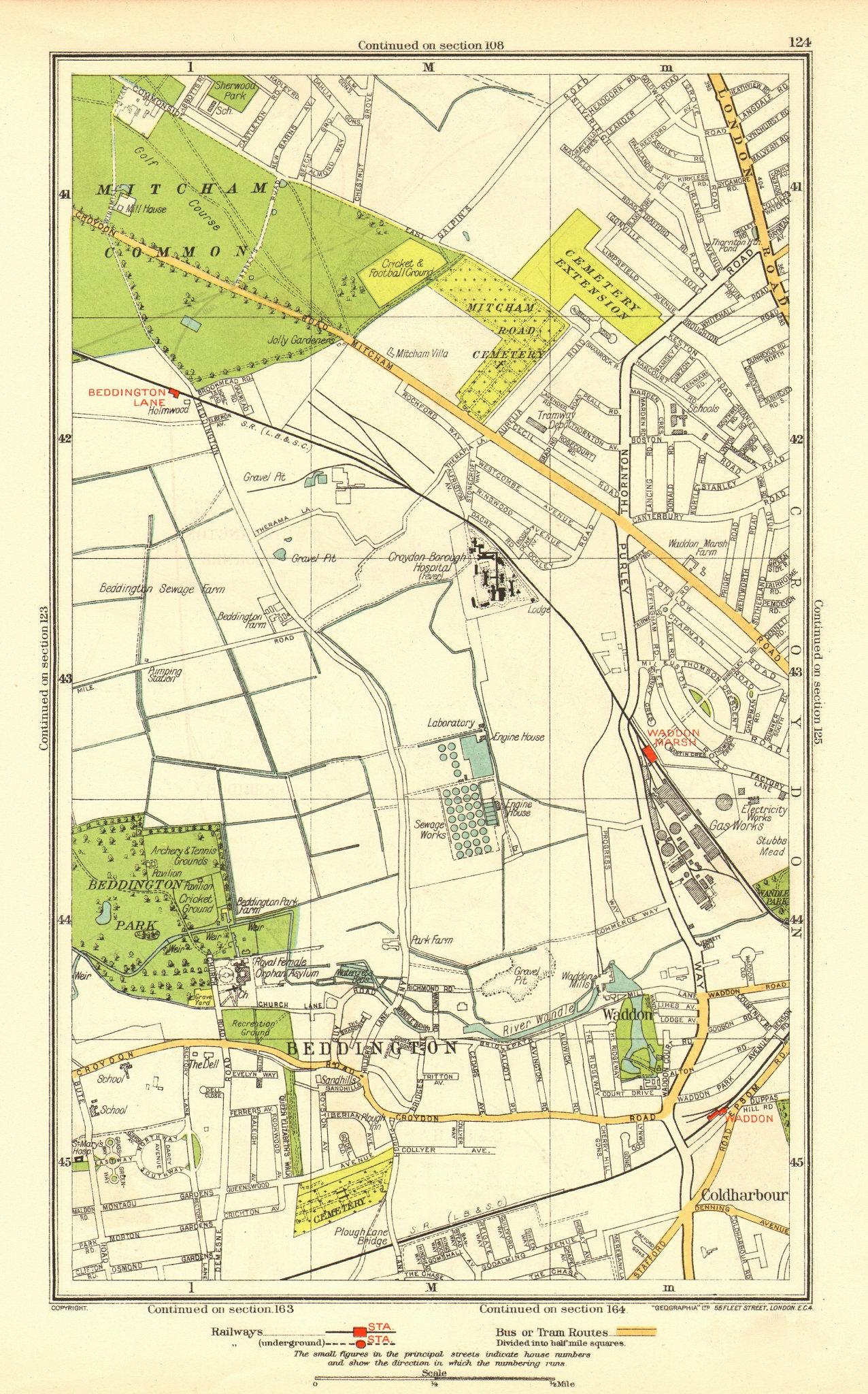 Associate Product SURREY. Beddington Lane Coldharbour Sandhills Waddon Ampere Way 1937 map