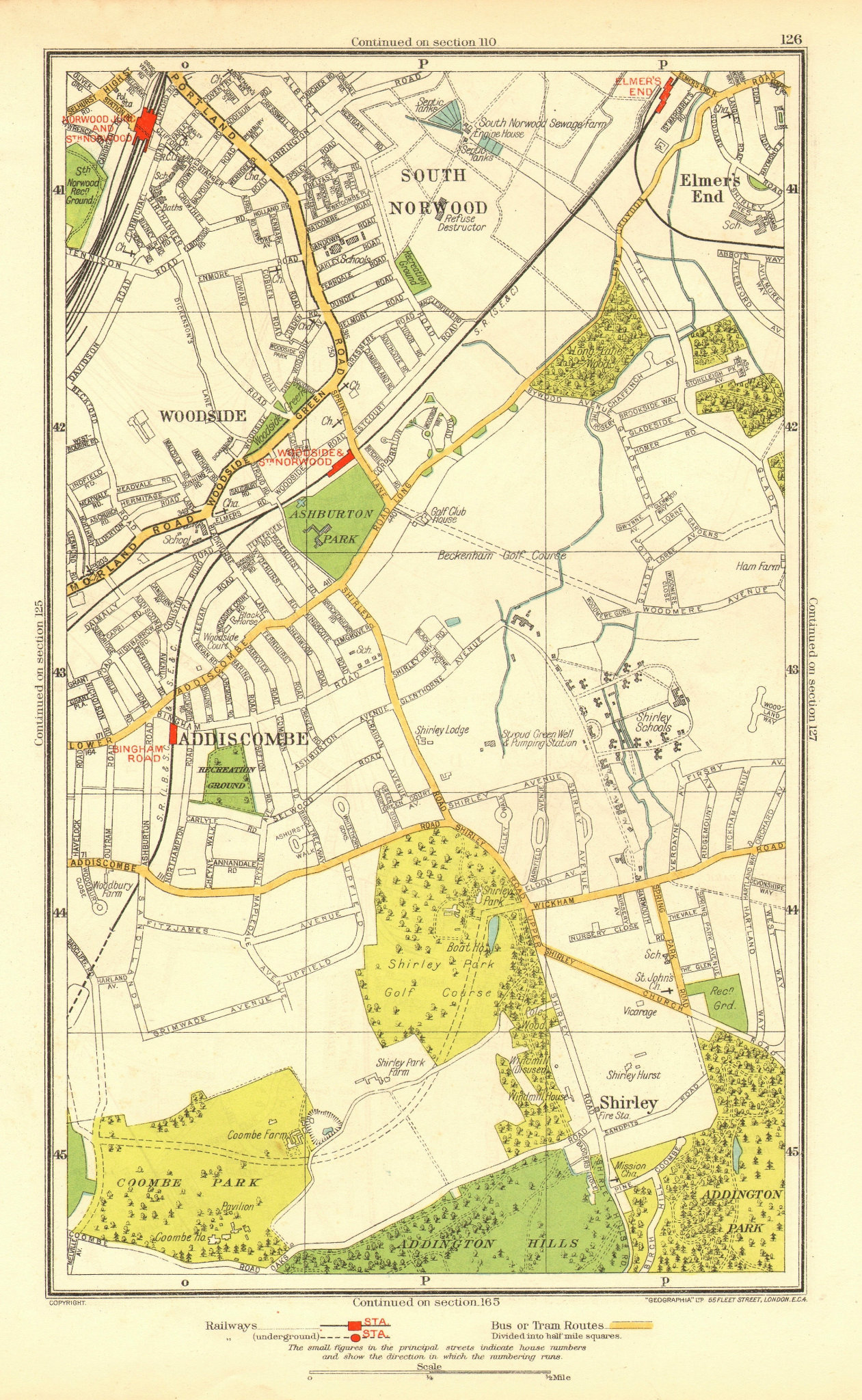 Associate Product CROYDON. Addiscombe South Norwood/Junction Woodside Shirley Elmers End 1937 map