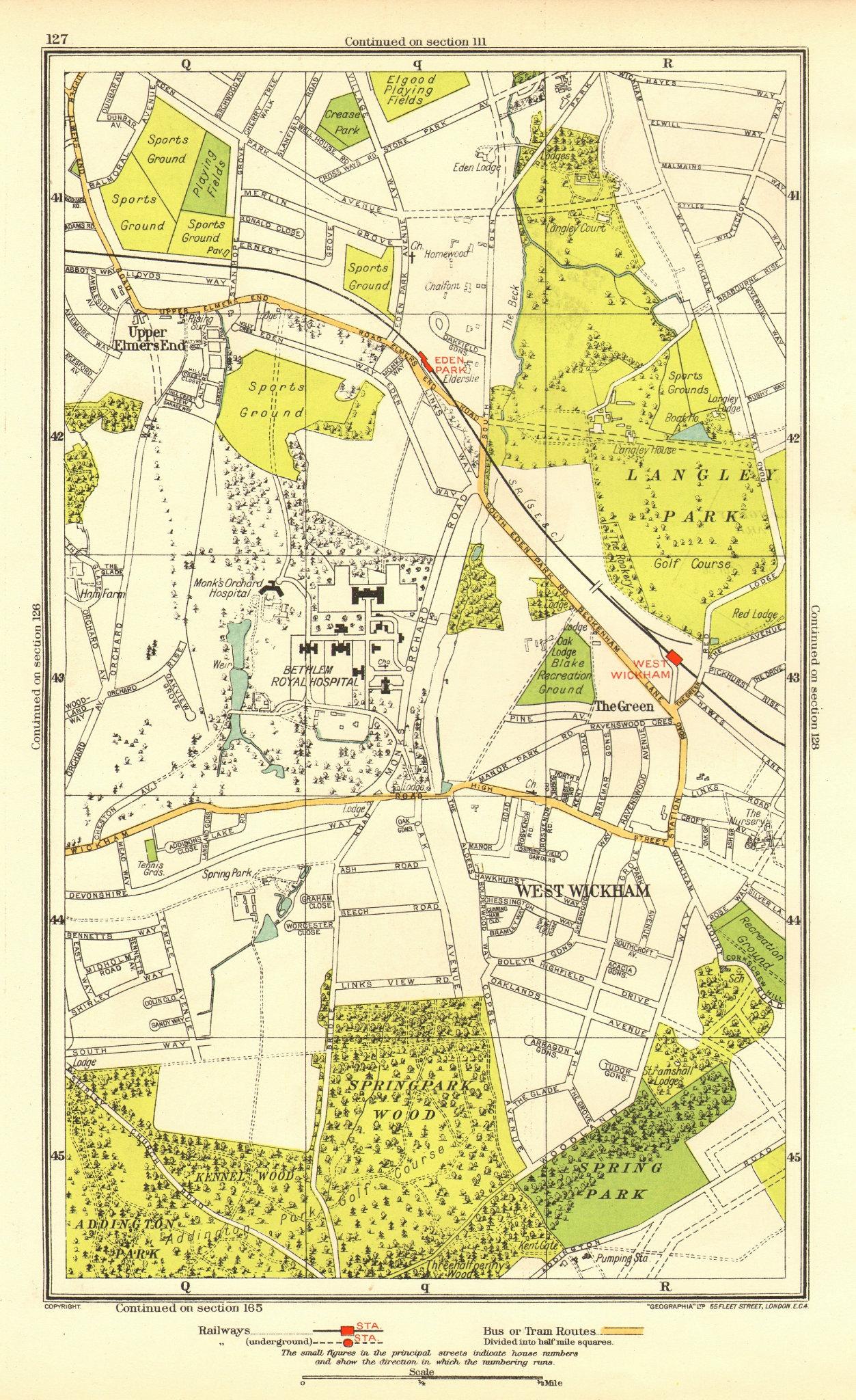 Associate Product LONDON. Upper Elmers End West Wickham Eden Park Spring Park 1937 old map
