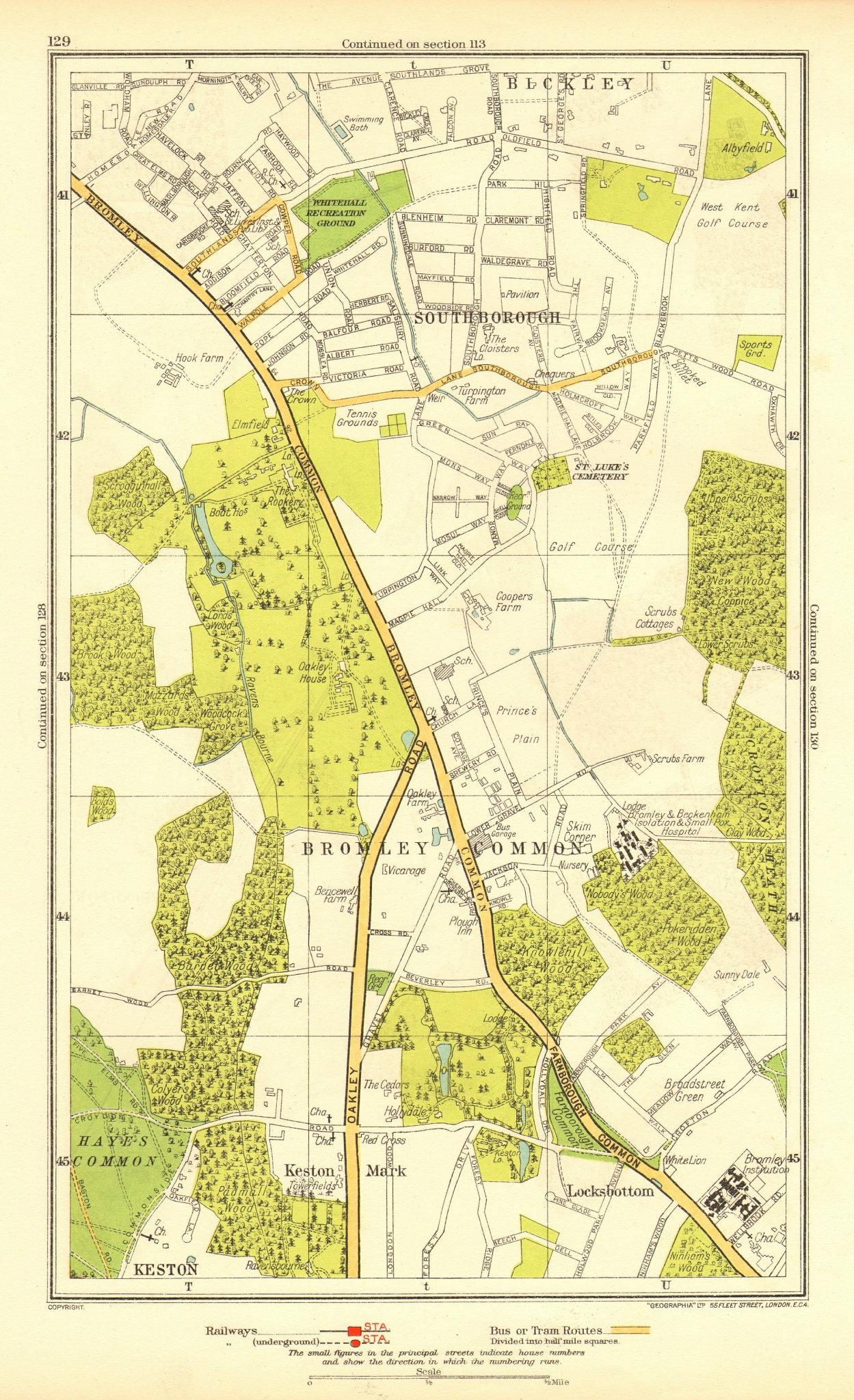Associate Product BROMLEY COMMON. Keston Keston Mark Locksbottom Southborough Bromley 1937 map