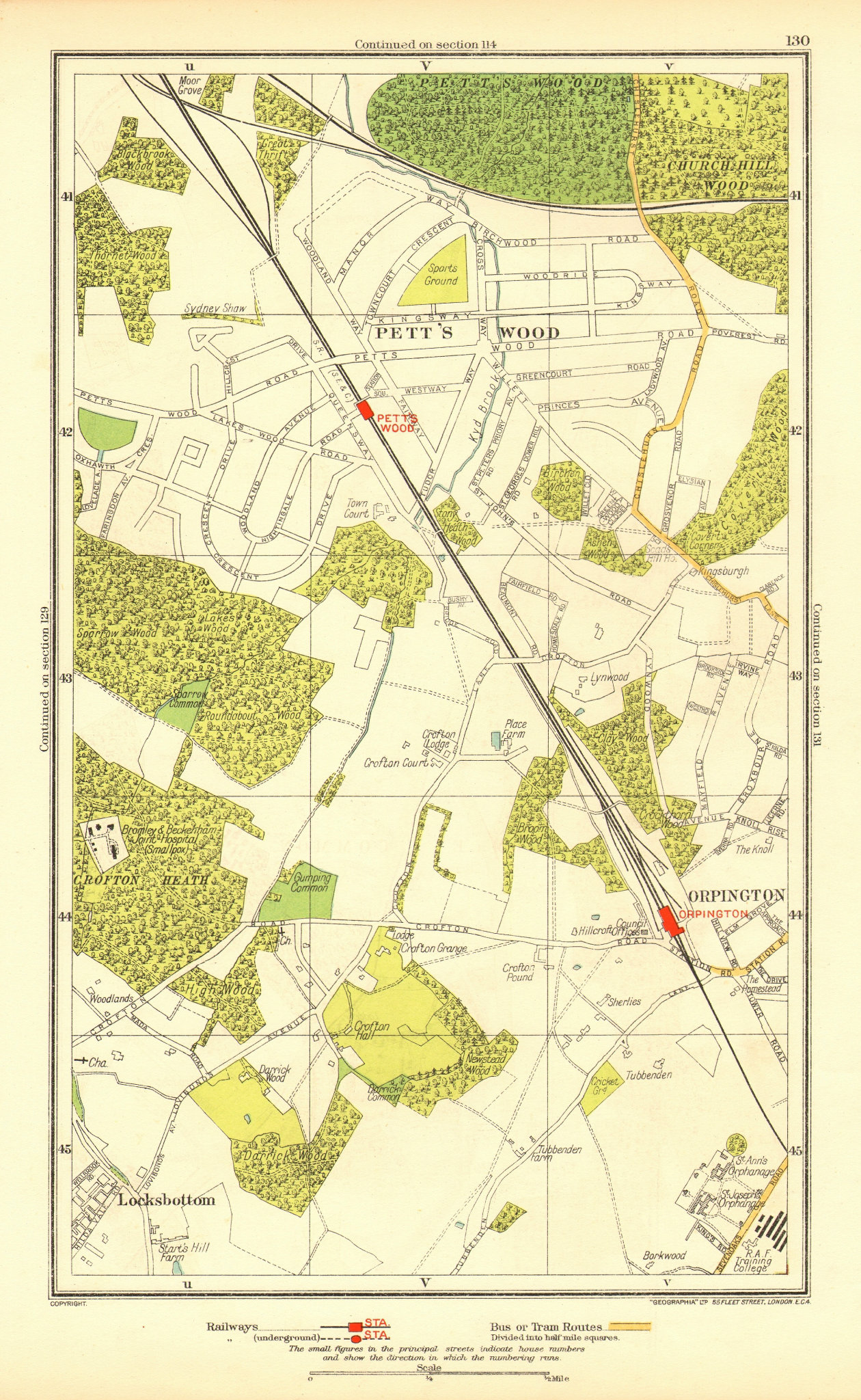 Associate Product PETT'S WOOD. Orpington Locksbottom Crofton Southborough 1937 old vintage map