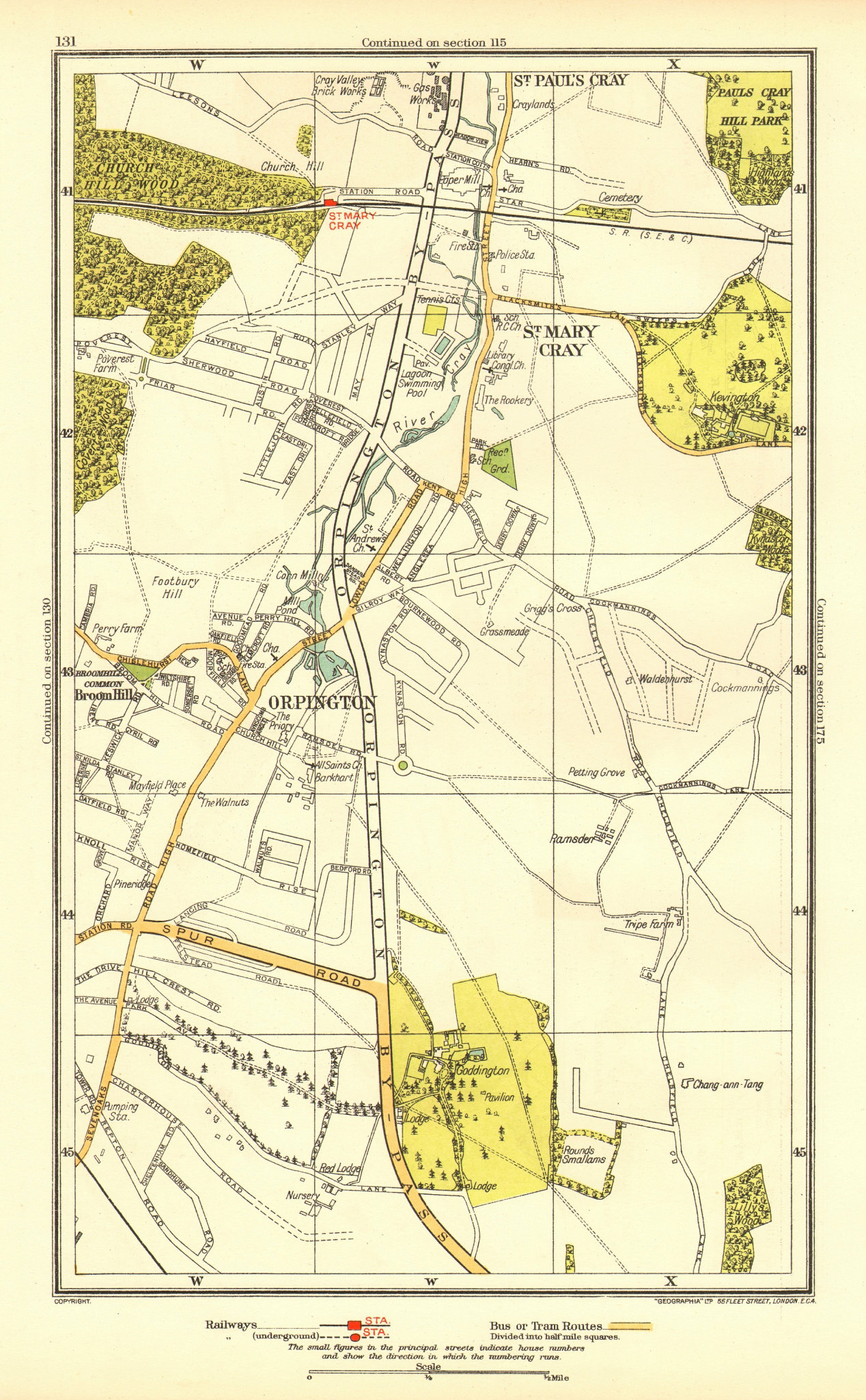 ORPINGTON. St Mary Cray St Paul's Cray Broom Hill Goddington 1937 old map