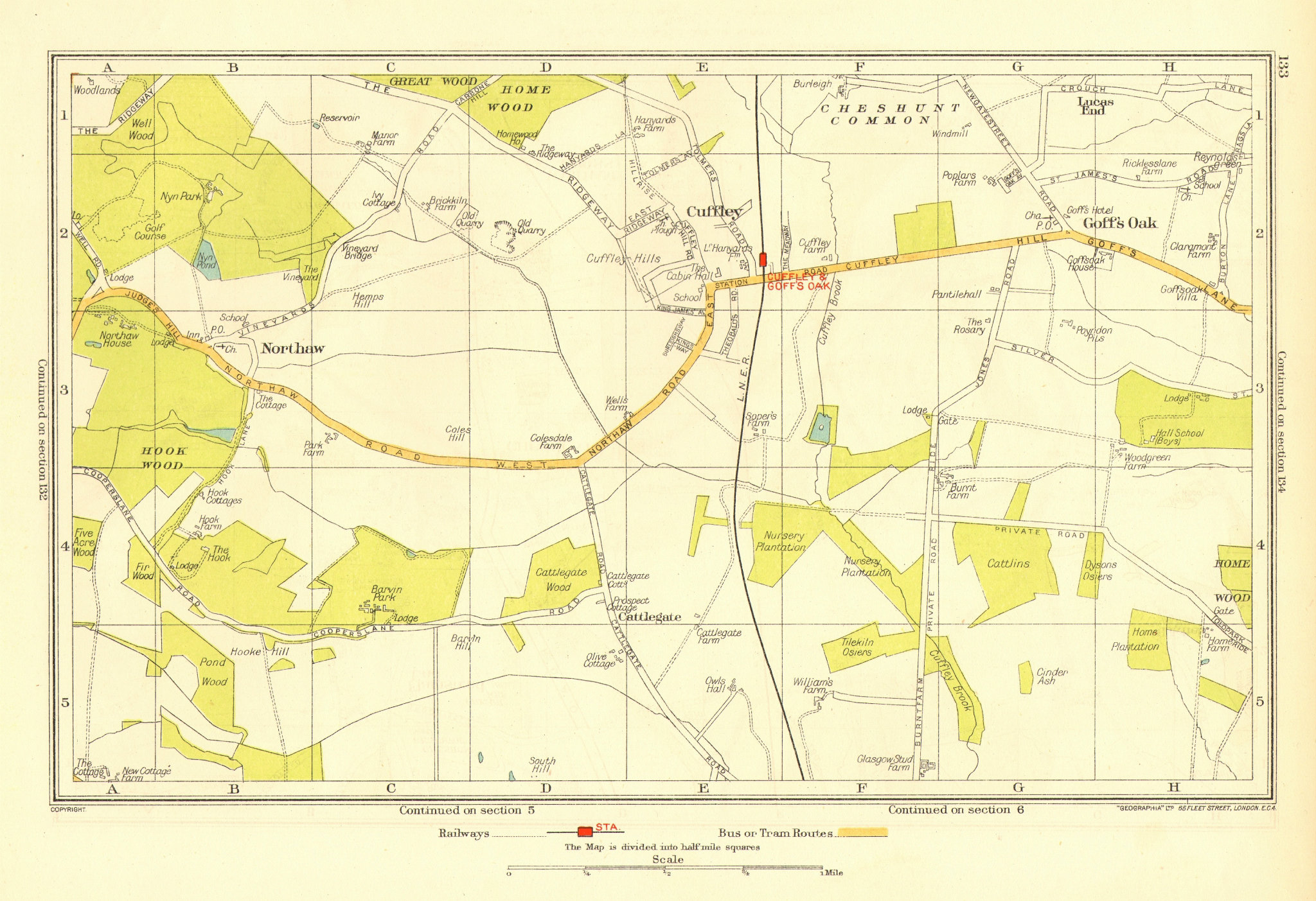 Associate Product HERTFORDSHIRE. Cuffley Goff's Oak Northaw Potters Bar 1937 old vintage map