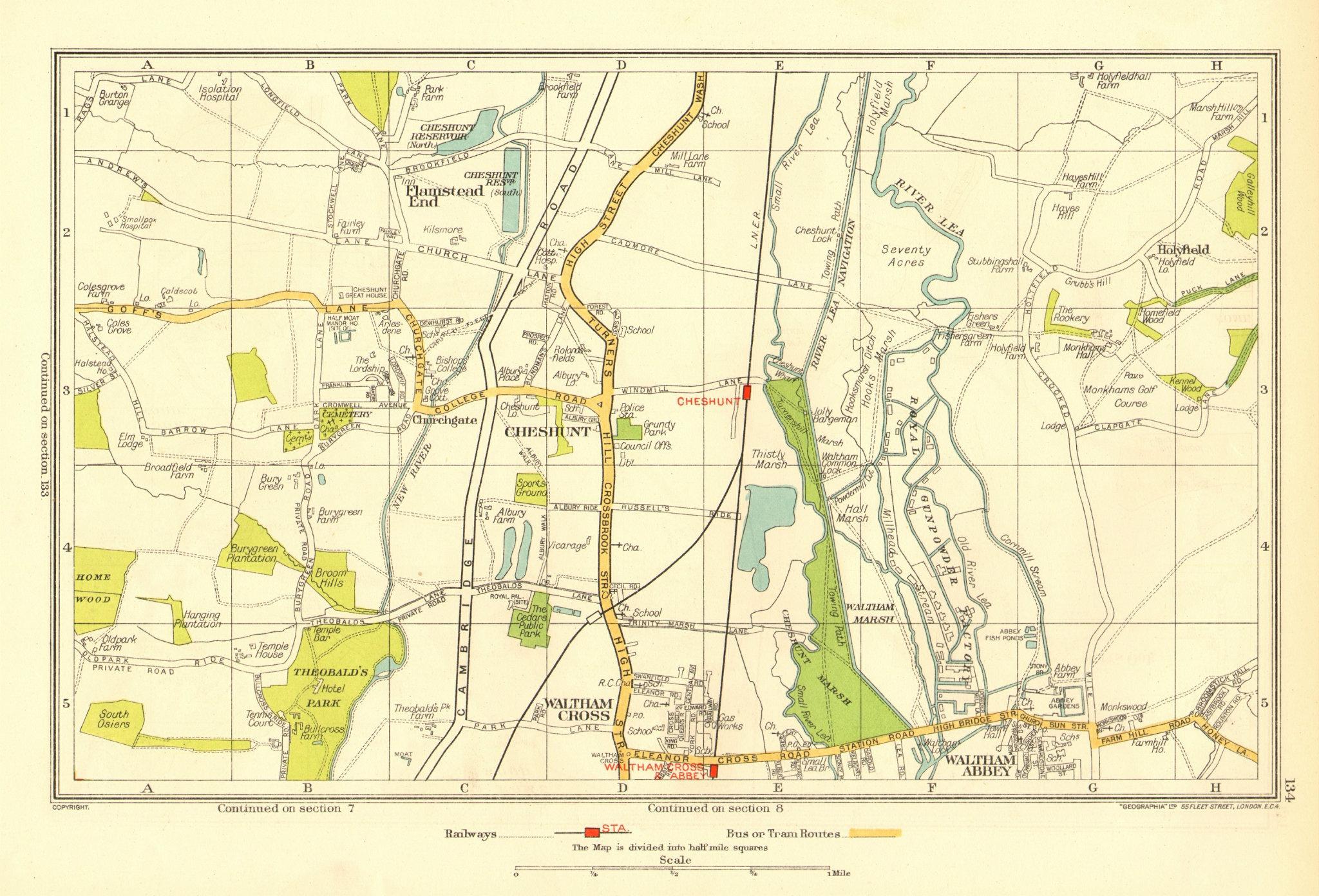 Associate Product CHESHUNT. Waltham Cross Waltham Abbey Flamstead End Hammond Street 1937 map
