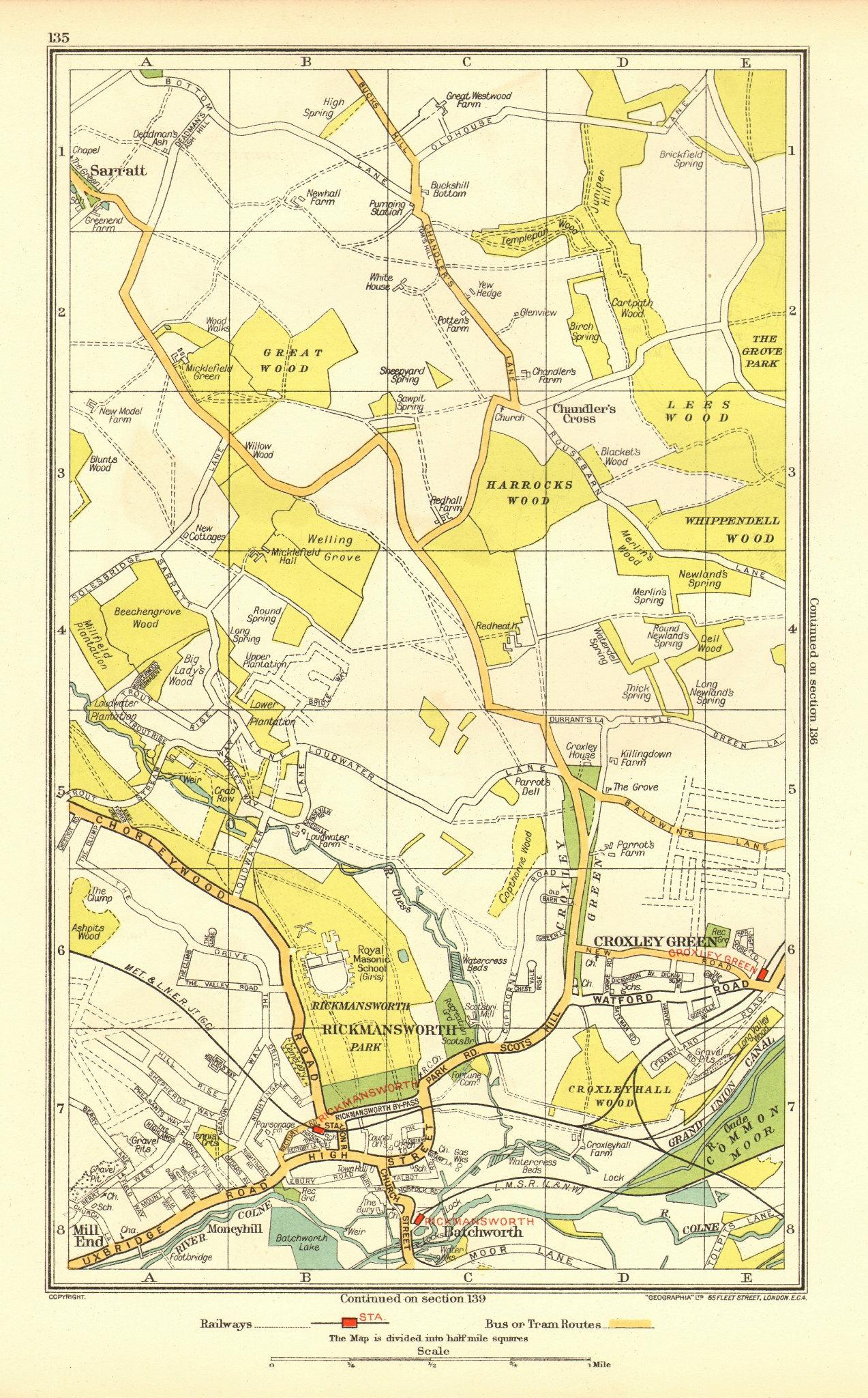 RICKMANSWORTH. Chandler's Cross Chorleywood Sarratt Croxley Green 1937 old map