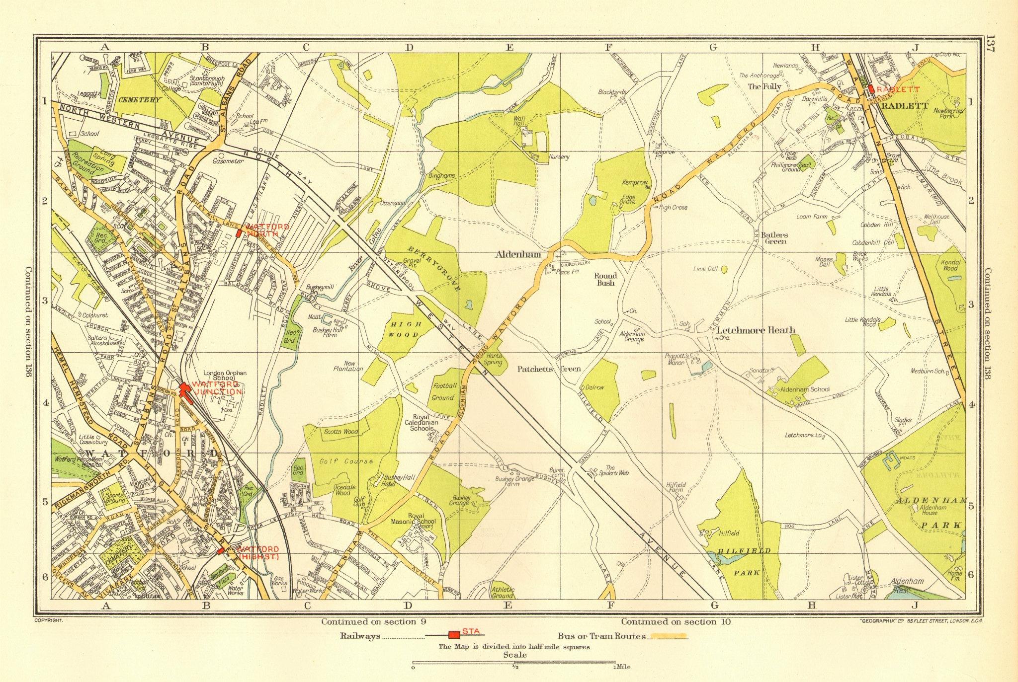 Associate Product WATFORD. Letchmore Heath Radlett Meriden Aldenham Patchetts Green 1937 old map