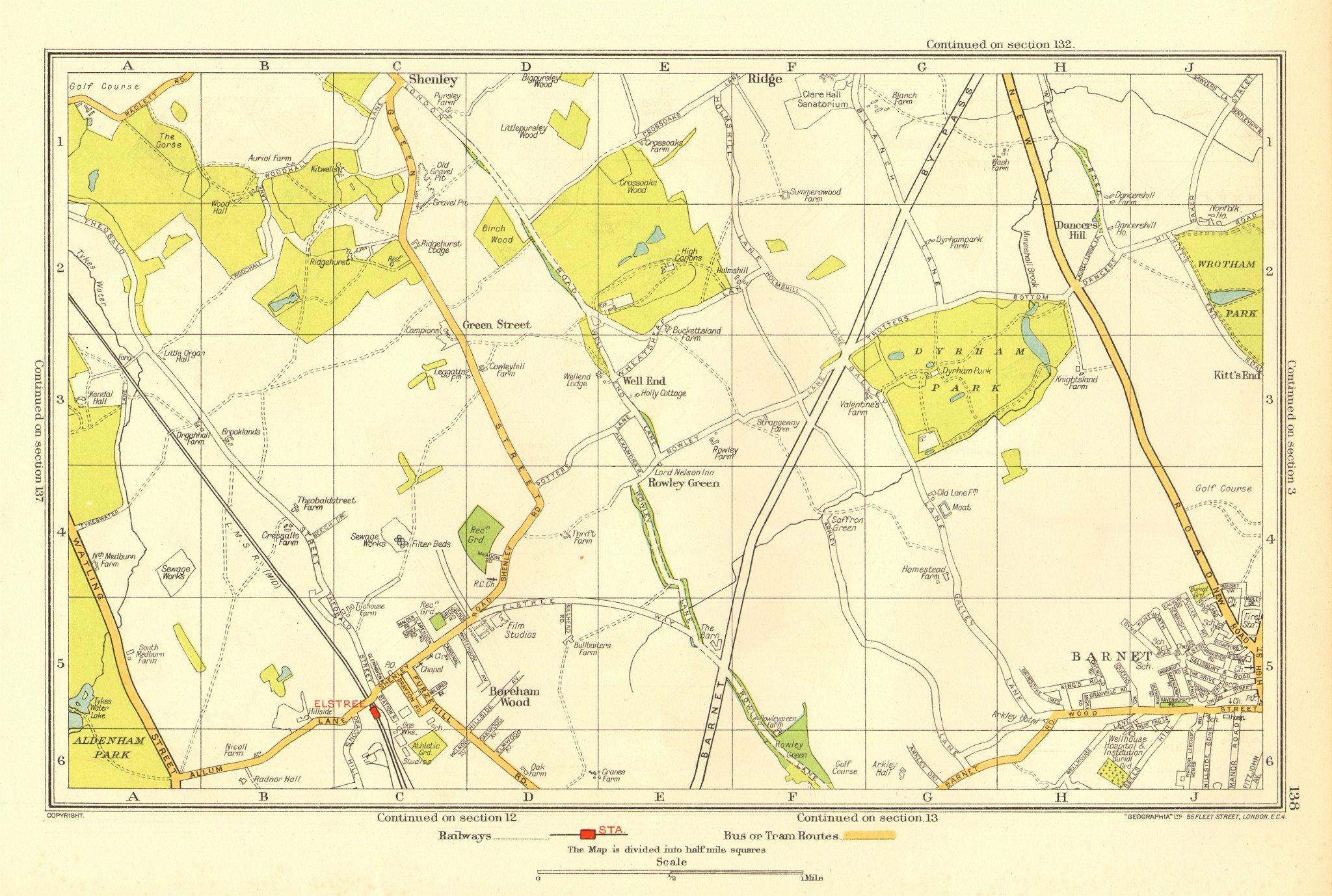 Associate Product BOREHAMWOOD. Elstree Barnet Shenley Ridge Monken Hadley 1937 old vintage map