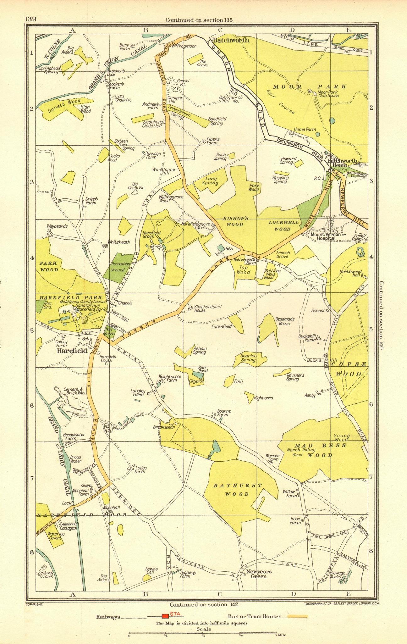 Associate Product HAREFIELD. Batchworth Heath Northwood Ruislip (Middlesex) 1937 old vintage map