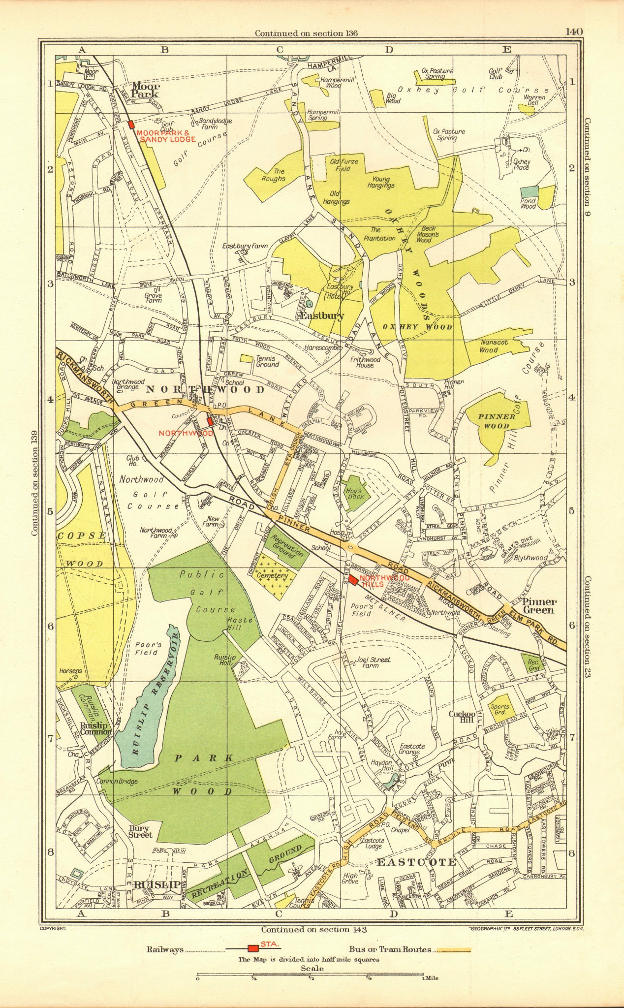 Associate Product NORTHWOOD. Pinner Eastcote Ruislip Moor Park South Oxhey (Middlesex) 1937 map