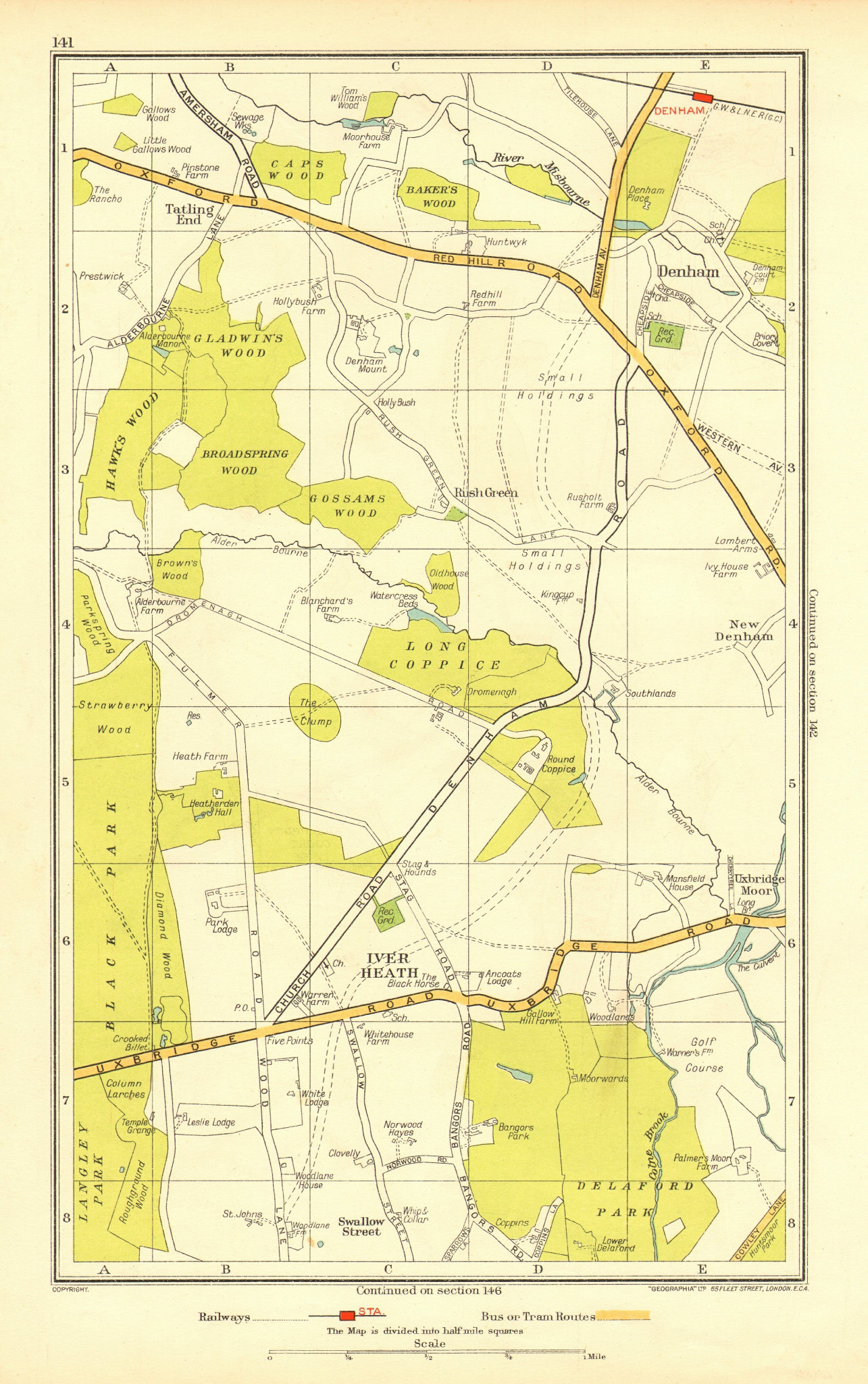 SOUTH BUCKS. Iver Heath Denham Uxbridge Tatling End Baker's Wood 1937 old map