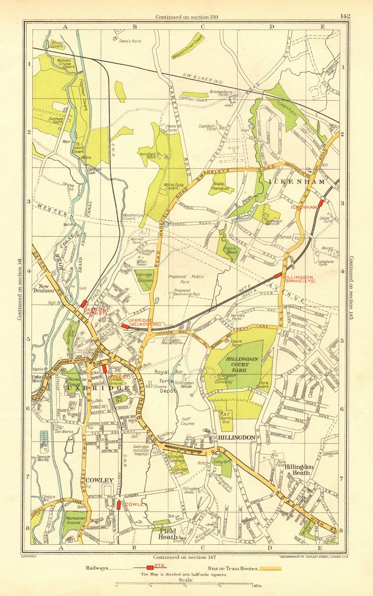 Associate Product UXBRIDGE. Ickenham Hillingdon Ruislip Cowley New Denham 1937 old vintage map