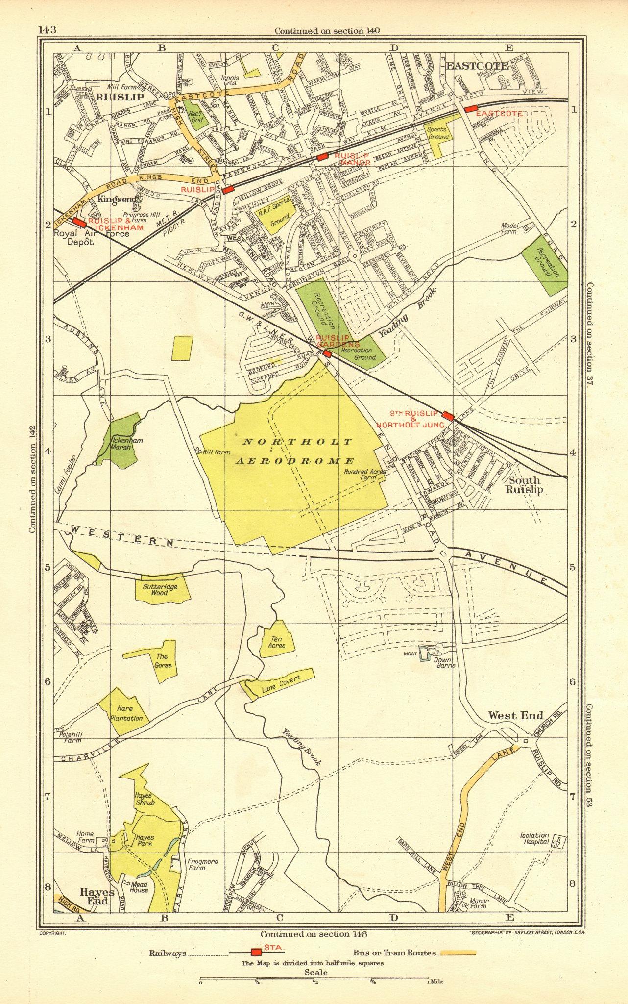 Associate Product NORTHOLT. Ruislip Ruislip Manor Hillingdon Yeading Greenford Eastcote 1937 map