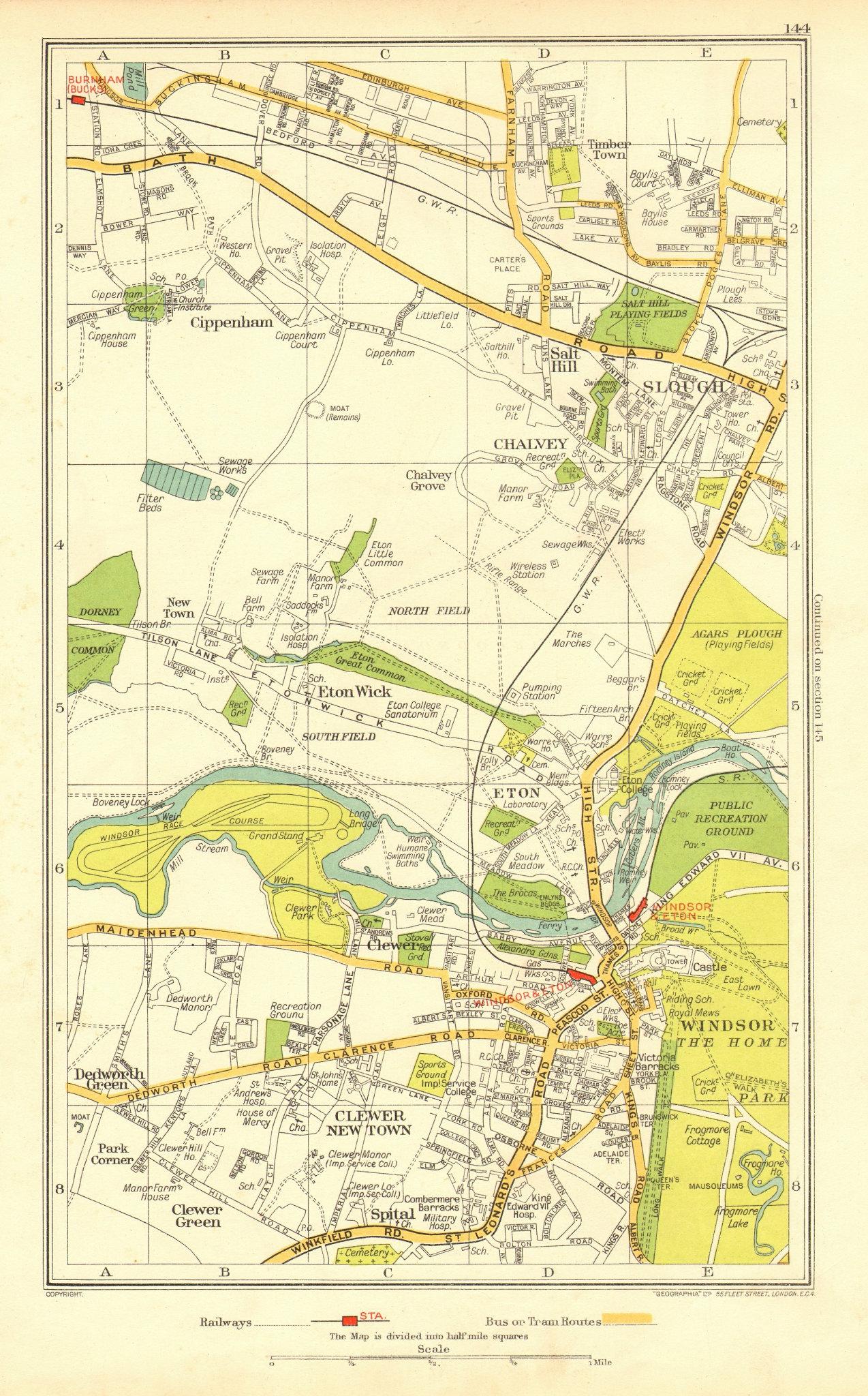 Associate Product WINDSOR ETON SLOUGH. Clewer Dedworth Chalvey Cippenham Eton Wick 1937 old map